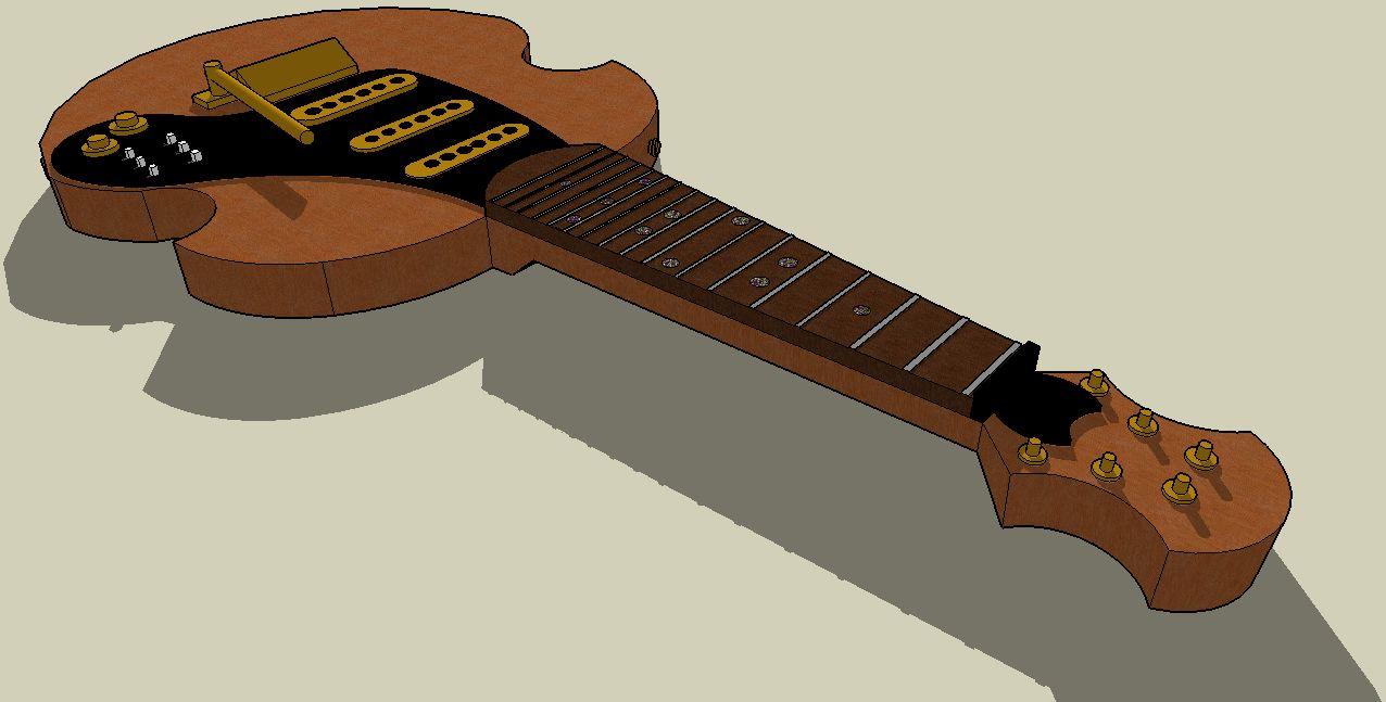 Electric Guitar 3d Drawing Cad drawings using google Guitar