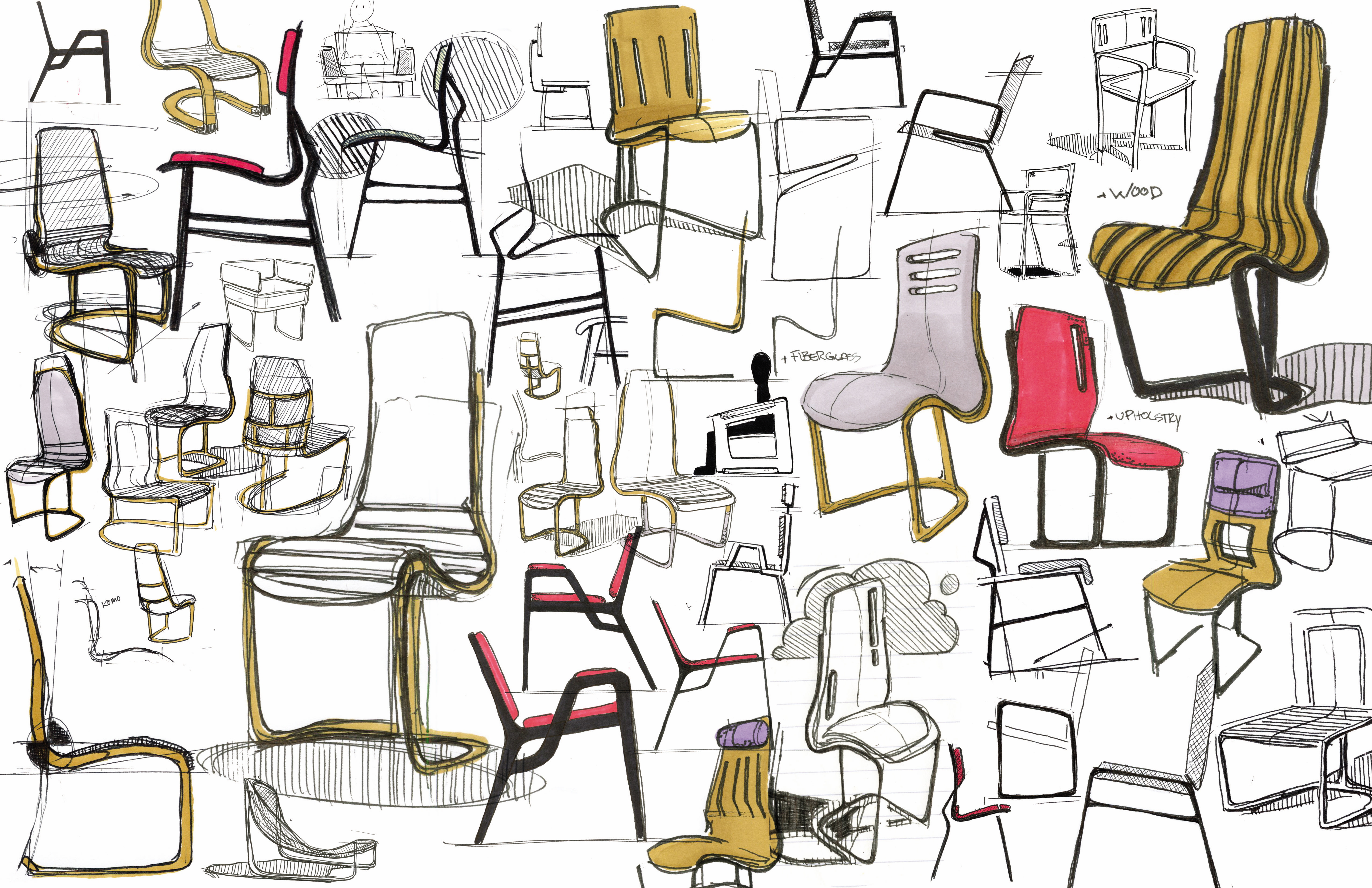 Sketches and other works by chet larrow at for Furniture sketch design