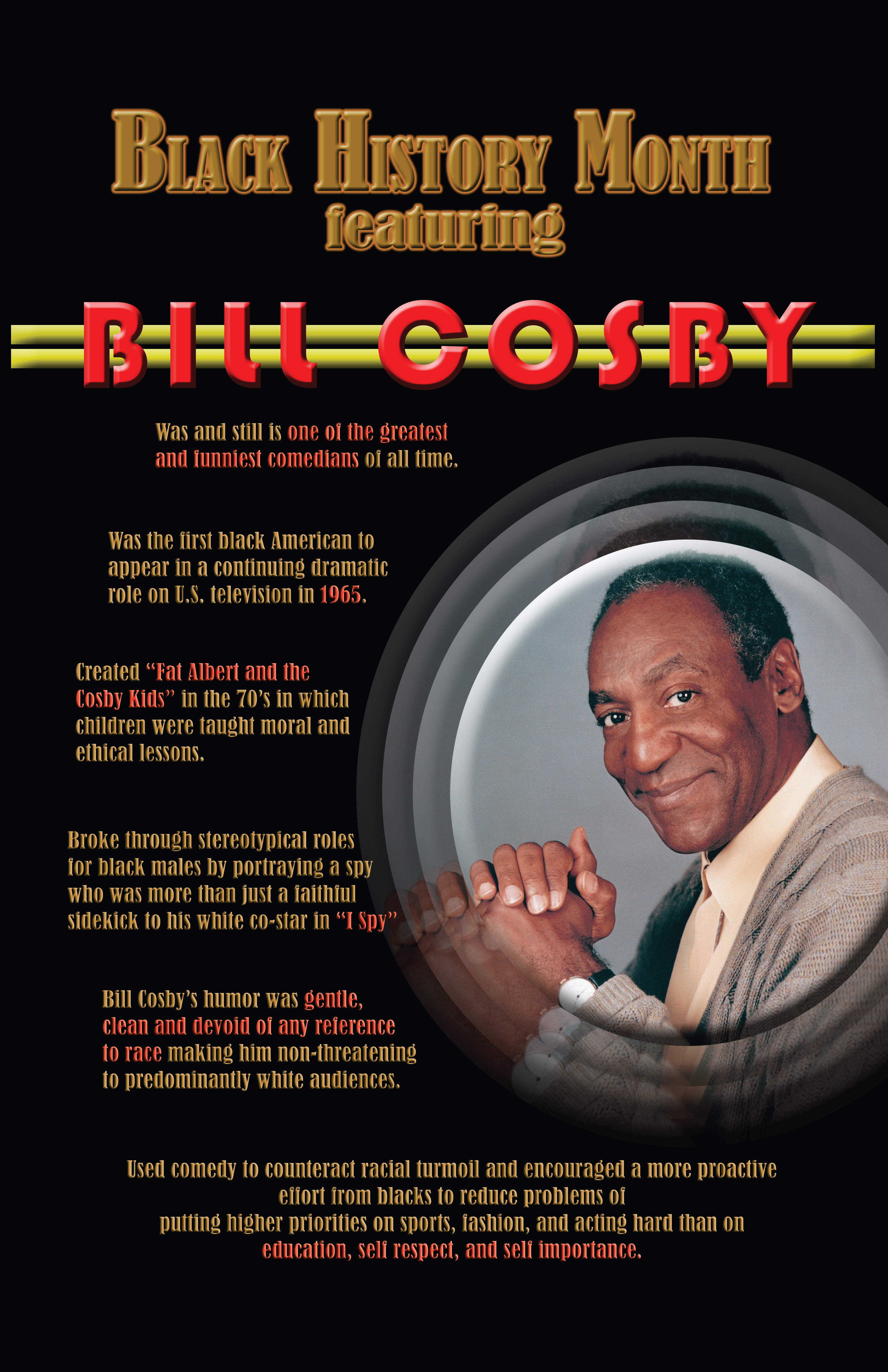 """outline for bill cosby The aspects that are portrayed in the cosby show are  bill cosby and producers tried to downplay the issue of race  (""""the cosby show essay example."""