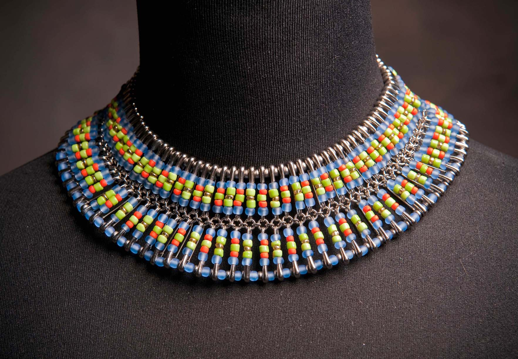 Safety pin amp seed bead necklace