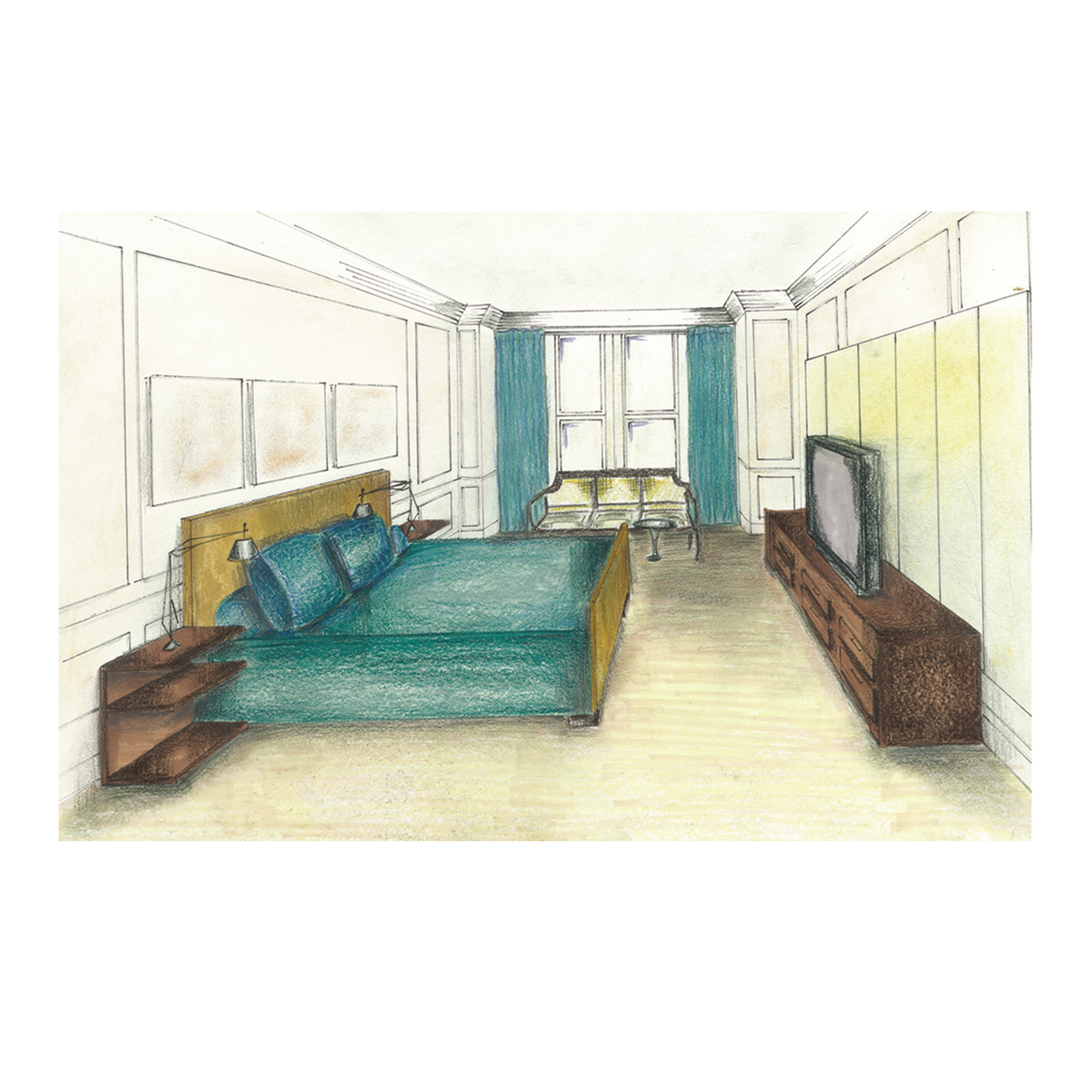 Bedroom drawing perspective - Residential Studio Bedroom Perspective Hand Drawn Hand Rendered