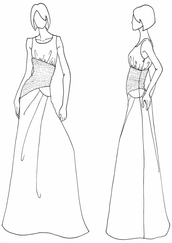 Вечернее платье нарисованное карандашом