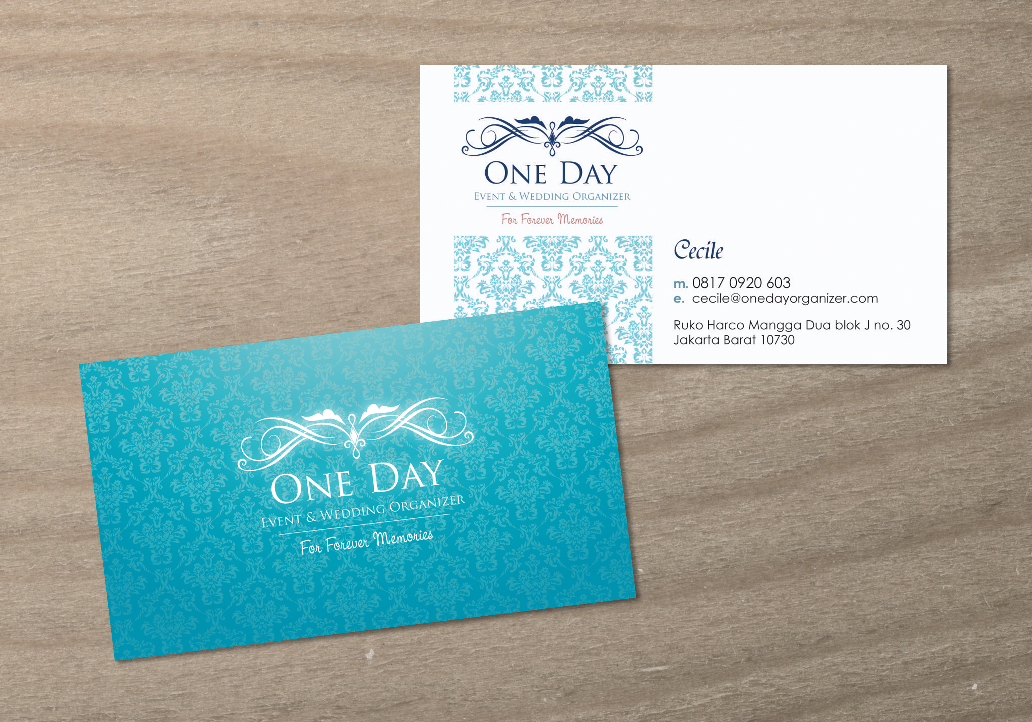 One day business card design by sherly gunawan at for Business names for interior design