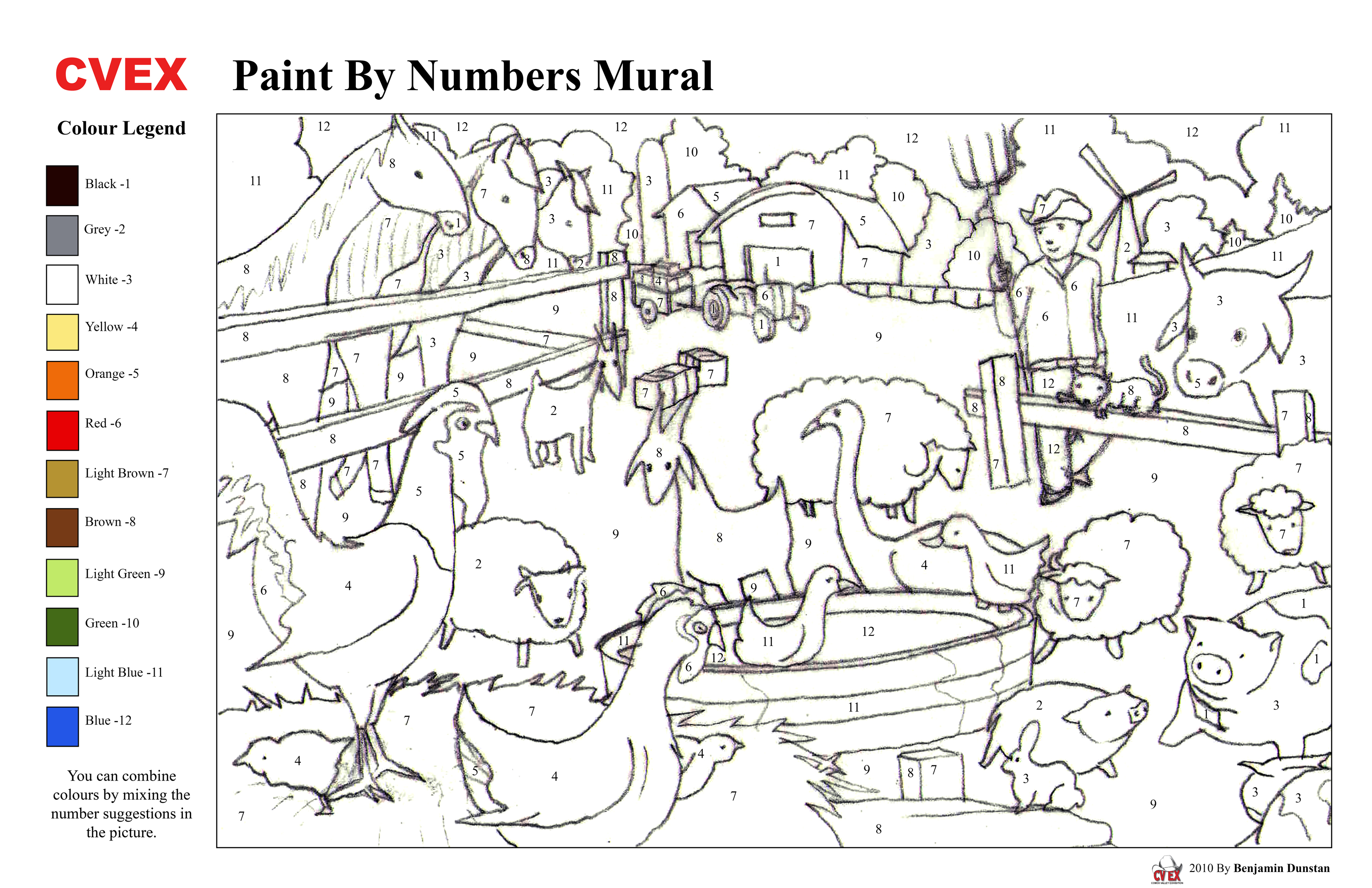 Tactueux image inside free printable paint by numbers for adults