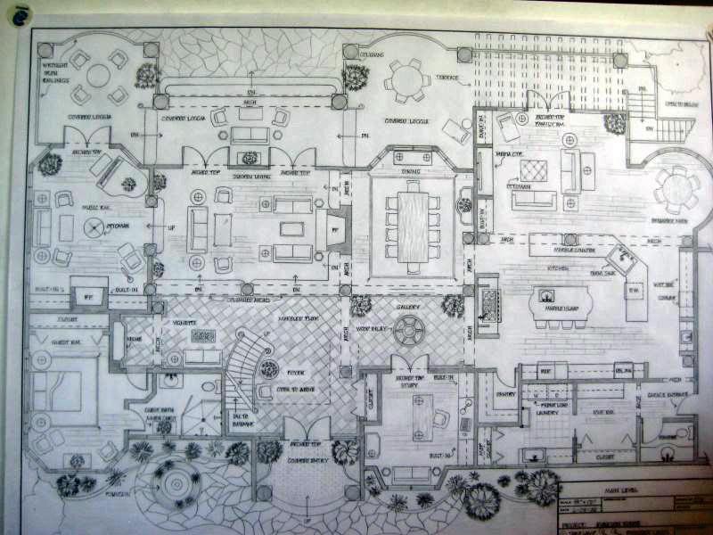 Main level floor plan spanish colonial residence by greta for Spanish colonial floor plans