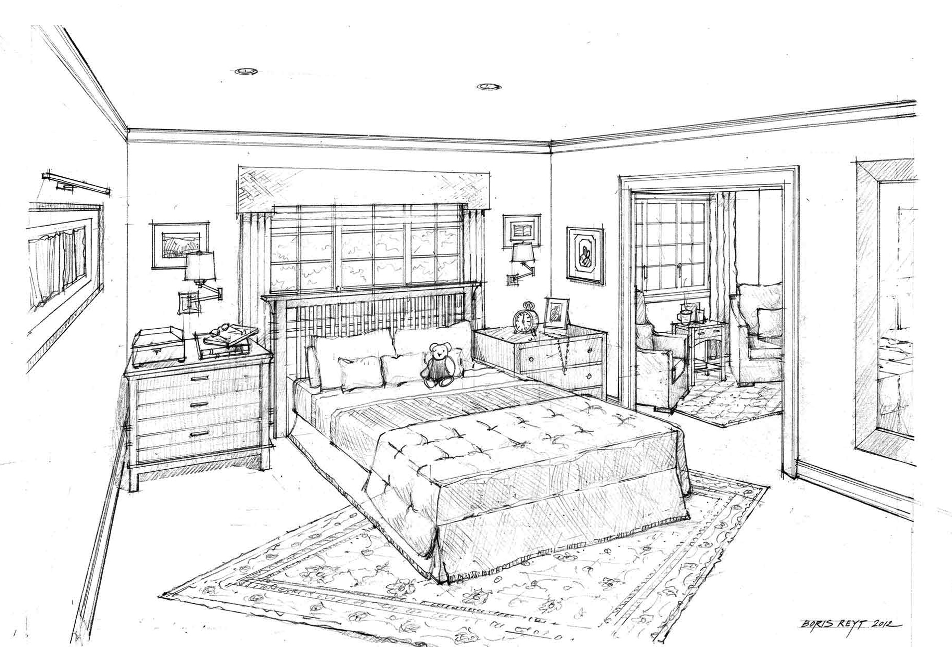 Master bedroom drawing - Master Bedroom And Den Architectural Rendering Private Residence