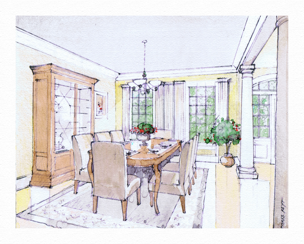Dining room perspective drawing - Dining Room Interior Design And Architectural Rendering Private Residence Dining Room