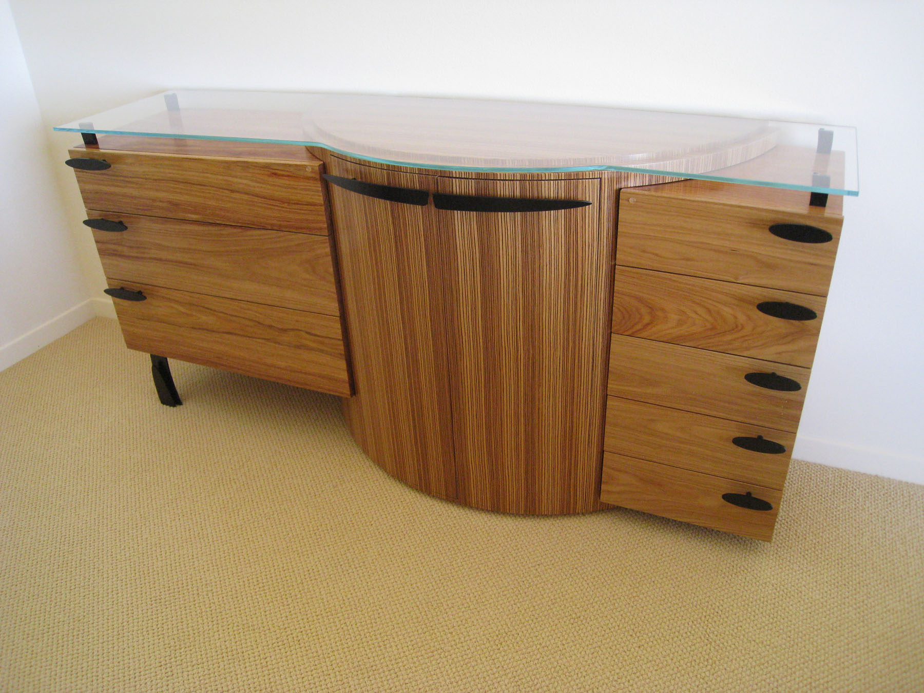 Sideboard  Custom Sideboard For A Laguna Beach Family This Piece Is  Contructed Of Zebra Wood And Canary Wood, Glass, Steel