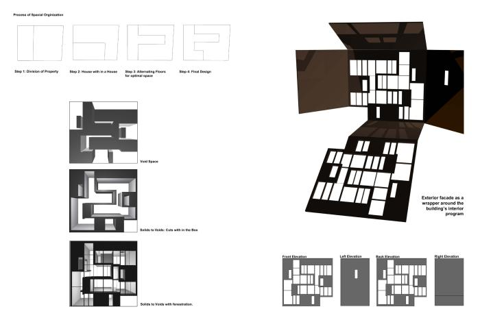 Diagramming and presentation boards the kbww house by for Solid void theory architecture