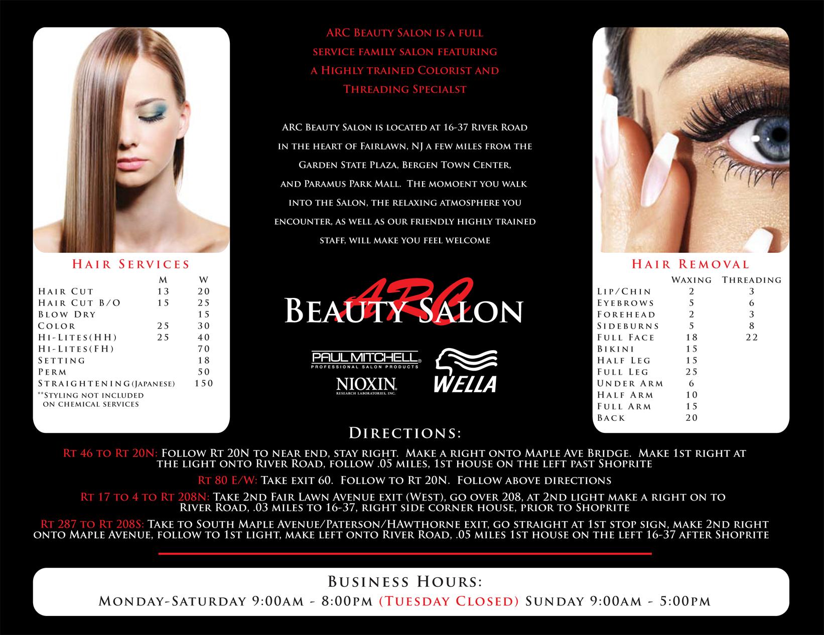 ARC Beauty Salon Brochure Inside by Gabriel Garcia at Coroflot – Salon Brochure