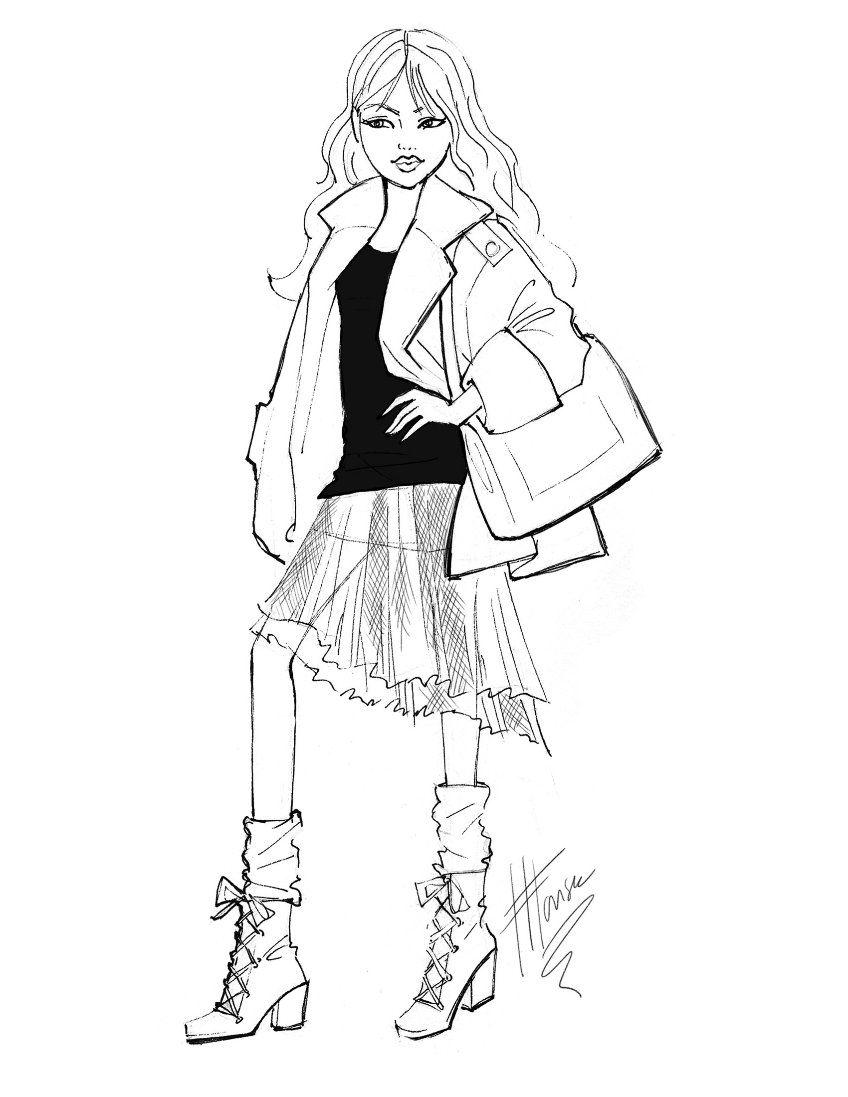 black and white fashion sketches by heather fonseca at