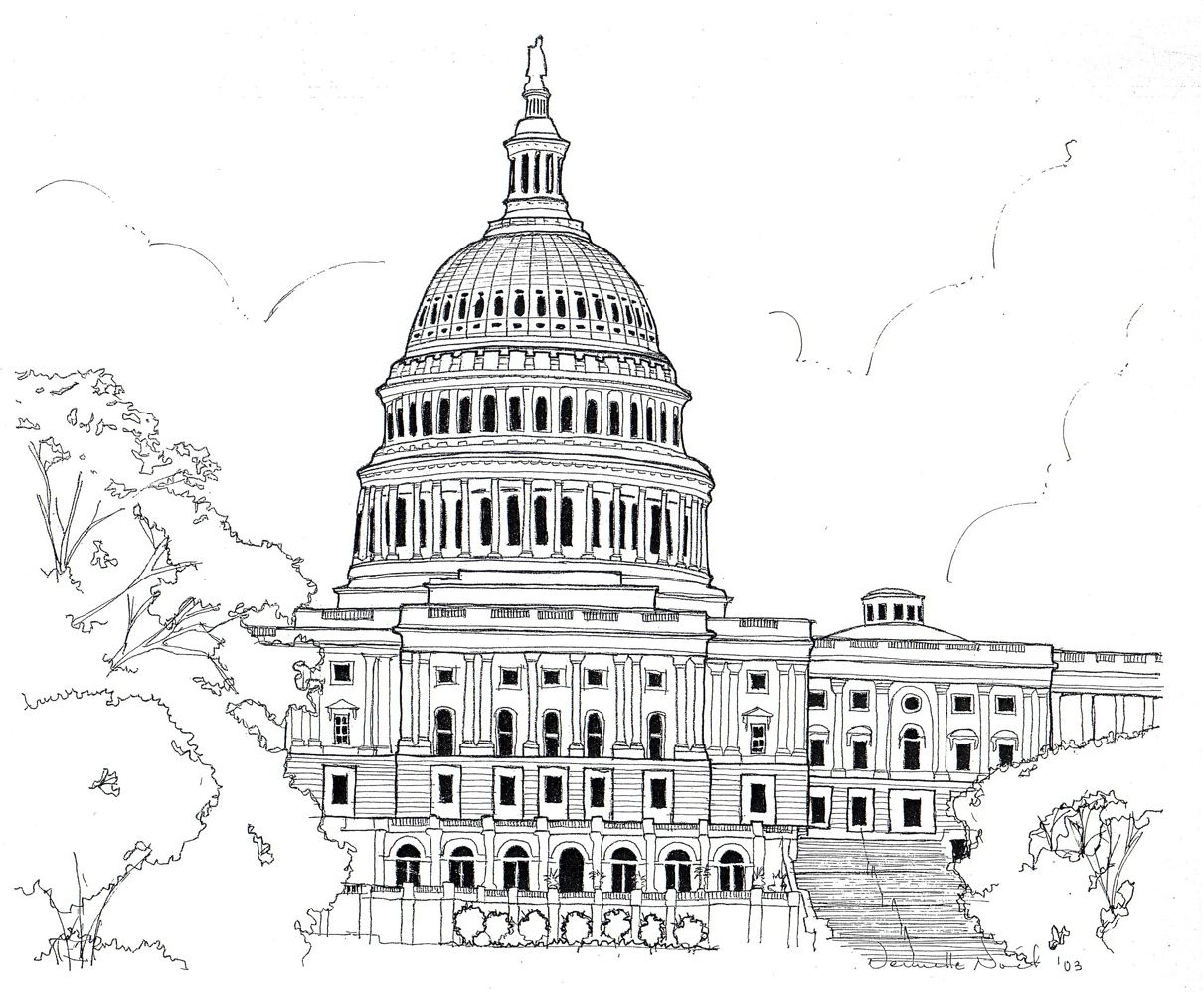 simple capitol building coloring pages - photo#24