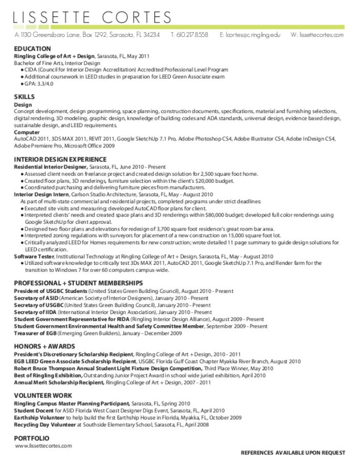 resume by lissette cortes at coroflot com