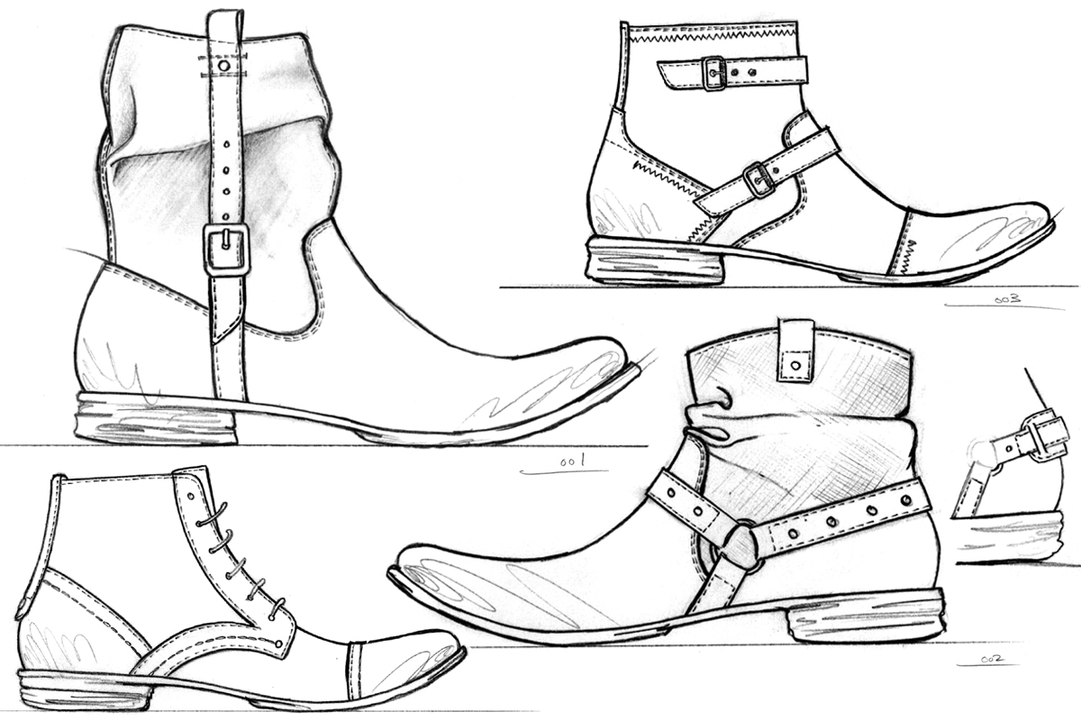 Fashion Boots Drawing Men's Shoes Boots Collection
