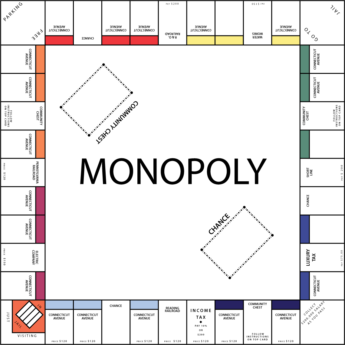 how to draw a monopoly board