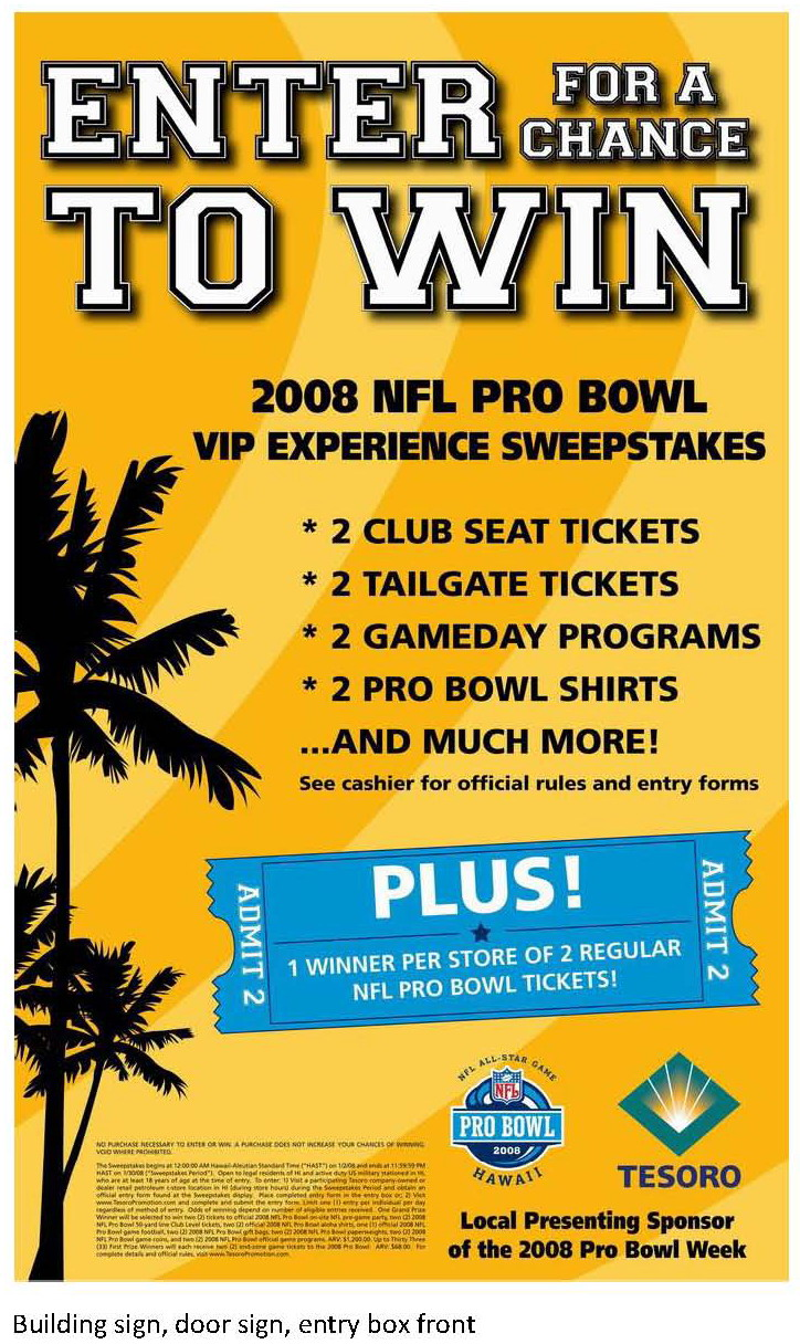 2008 NFL Pro Bowl Enter-To-Win Sweepstakes by Richard Smith at ...