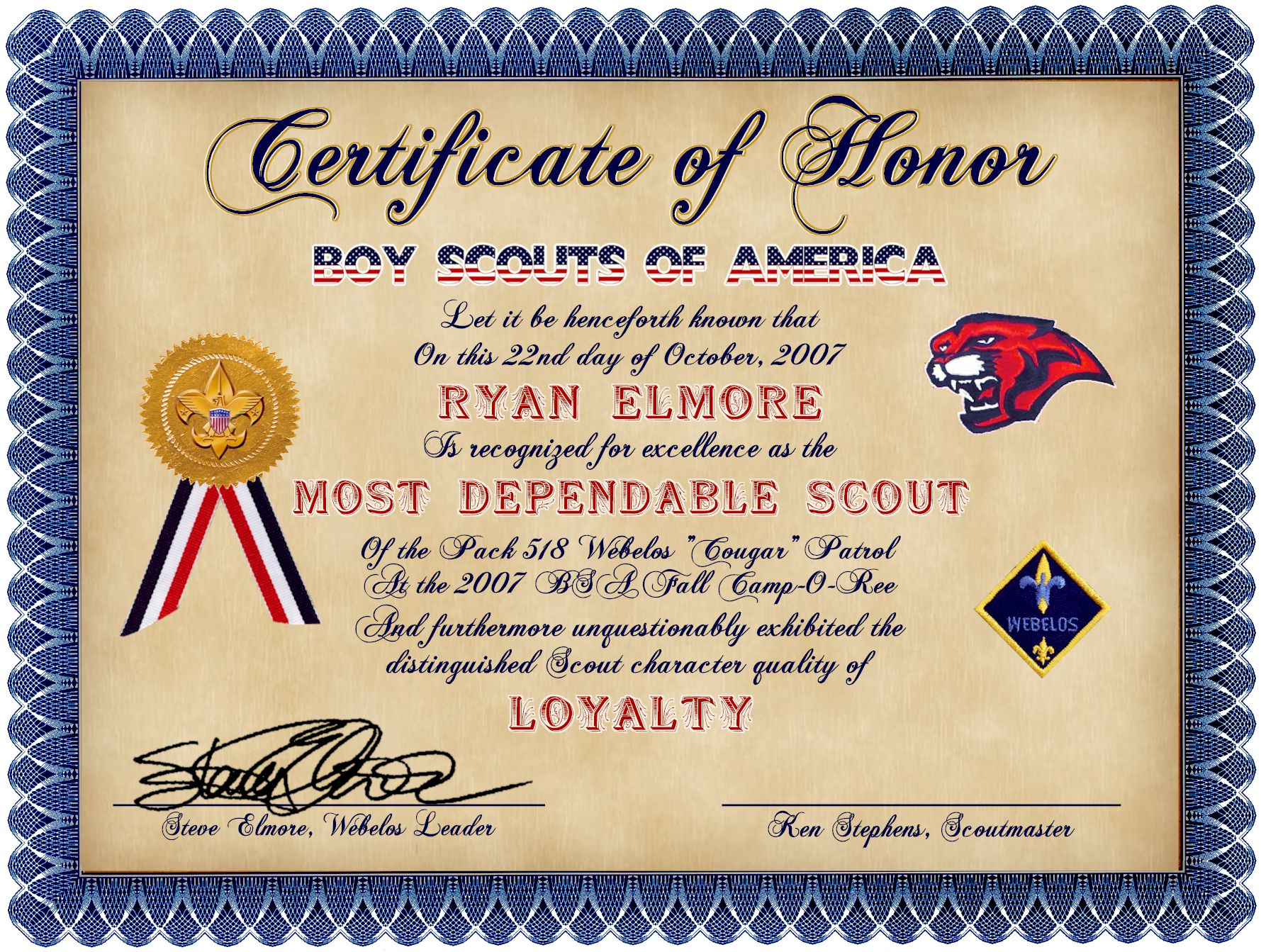 scout certificates template - various designs by steven elmore at
