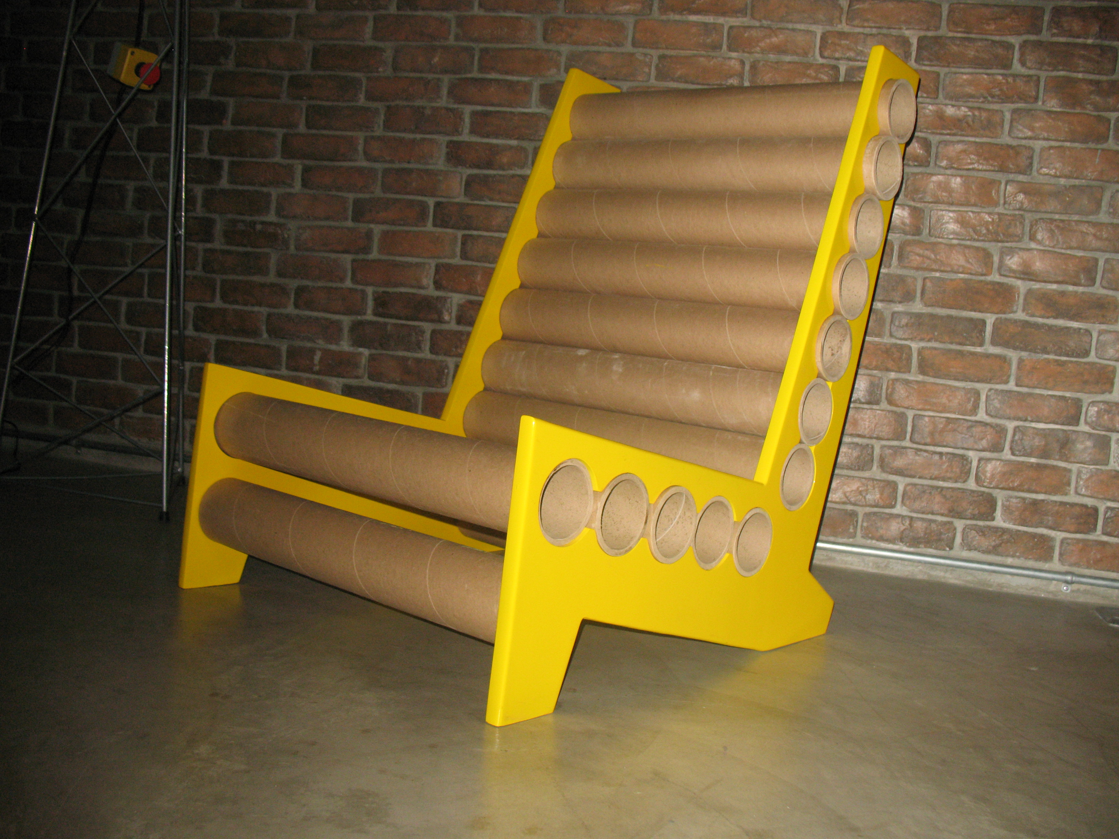 Chair 1   Used Paper Core Tubes And Recycled Plywood. Constructed Without A  Single Nail Used + Collapsible (knock Down Type)