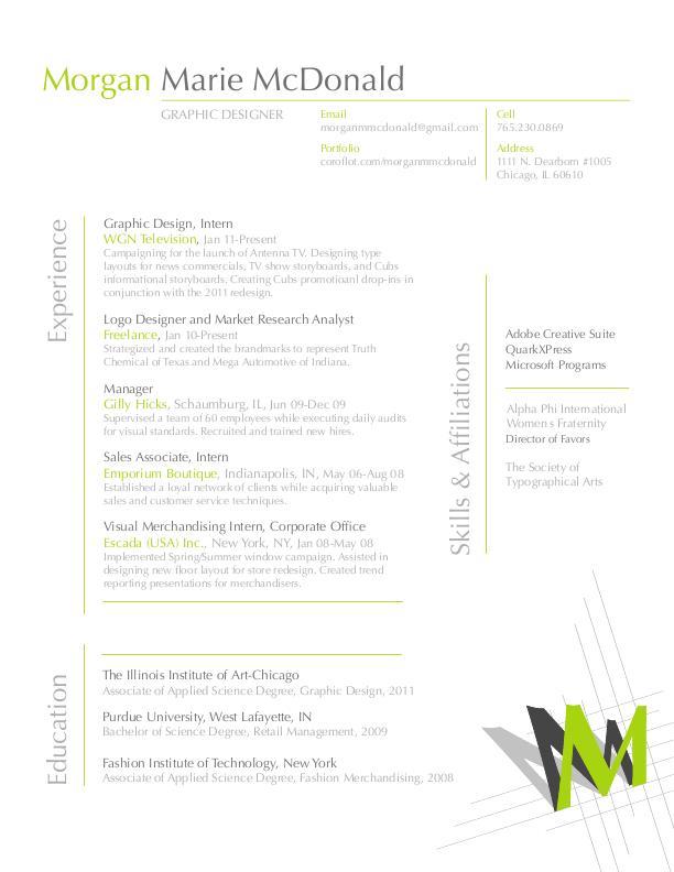 Resume by Morgan McDonald at Coroflot