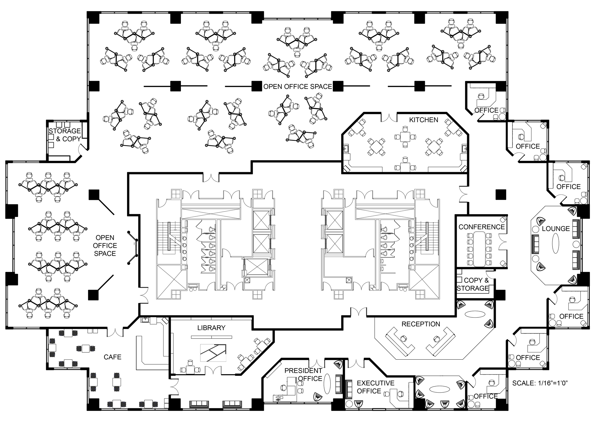 Open office office spaces and offices on pinterest Office building floor plan layout