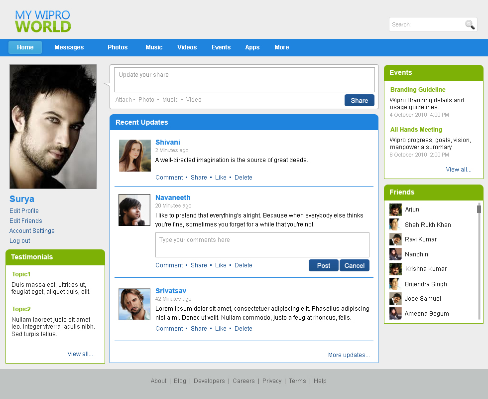 Websites by bhanu shankar at for Social networking sites templates php