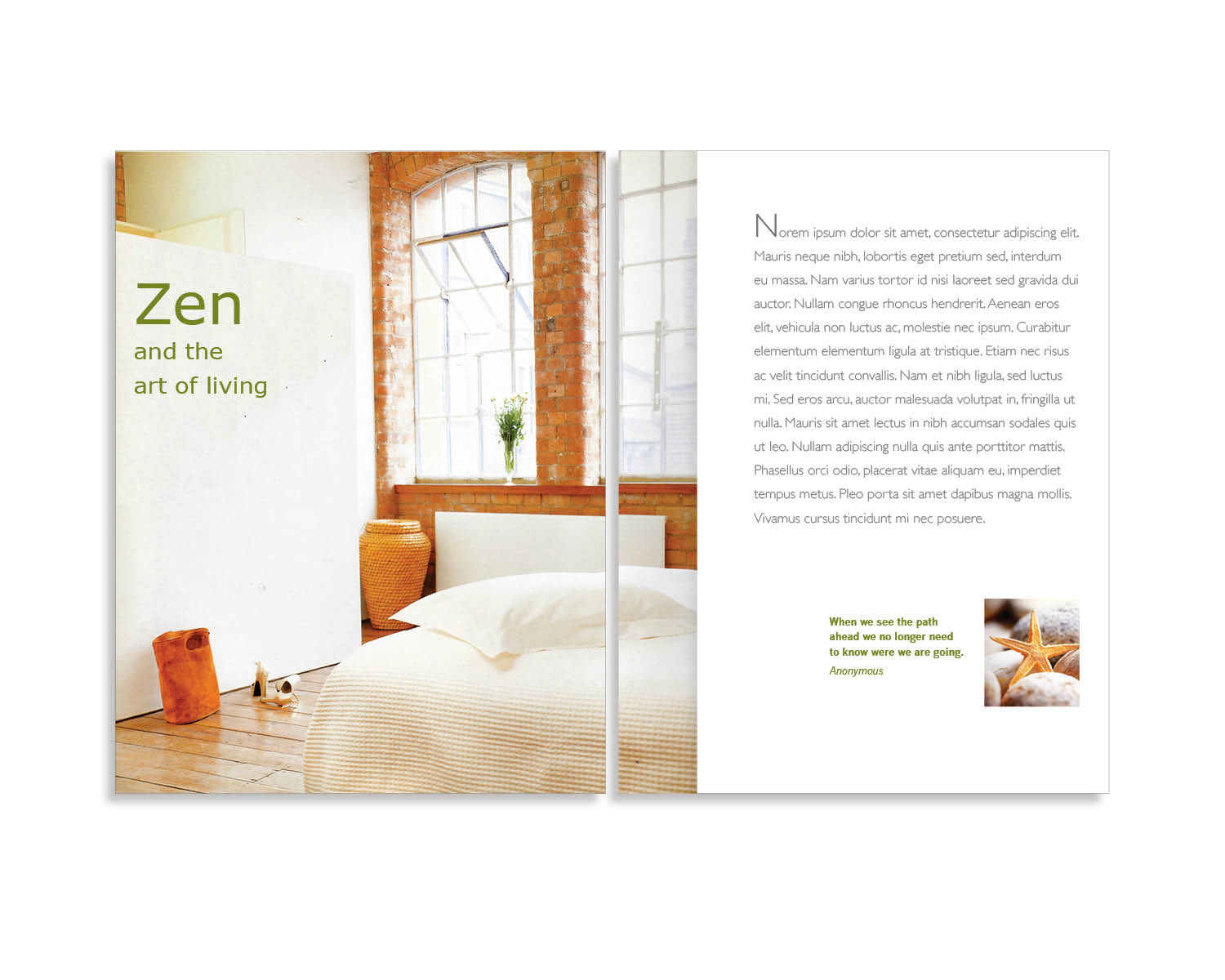 CLIENT For Showcase Purpose PROJECT ZEN Lifestyle A Coffee Table Book CREATIVE INVOLVEMENT Concept Design Page Layout