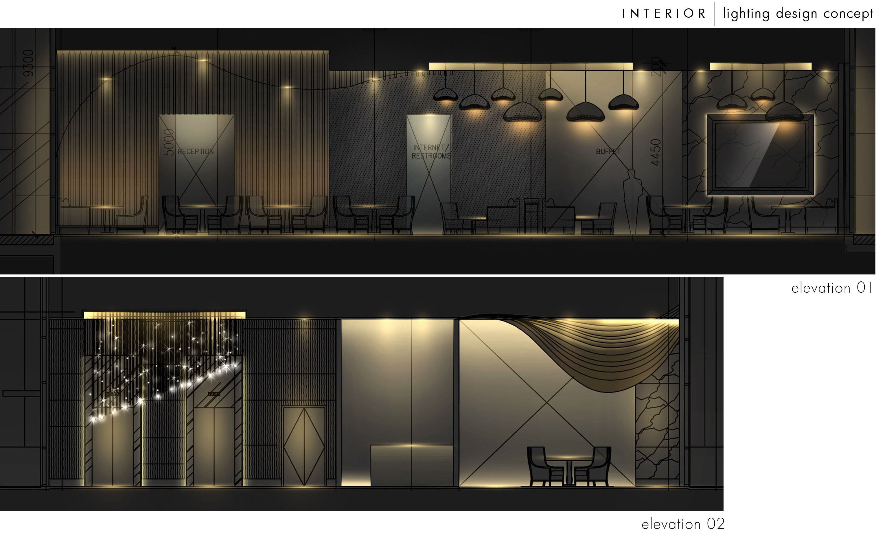 Interior lighting design by steven kurniawan at for Interior design house elevation