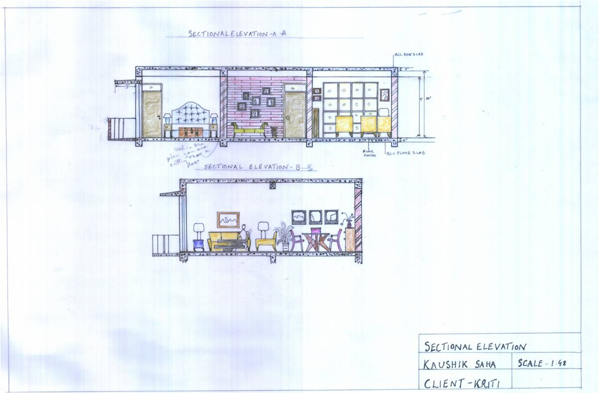 Sectional elevation a 2 bedroom apartment for a 29 yrs old advertising executive the brief was to design a place with old world charm but in an urban