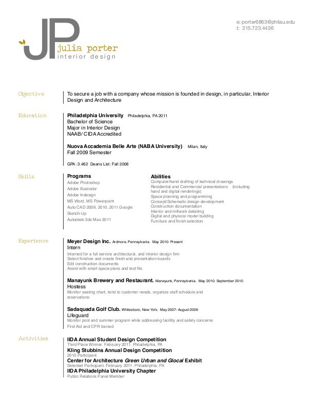 Resume By Julia Porter At