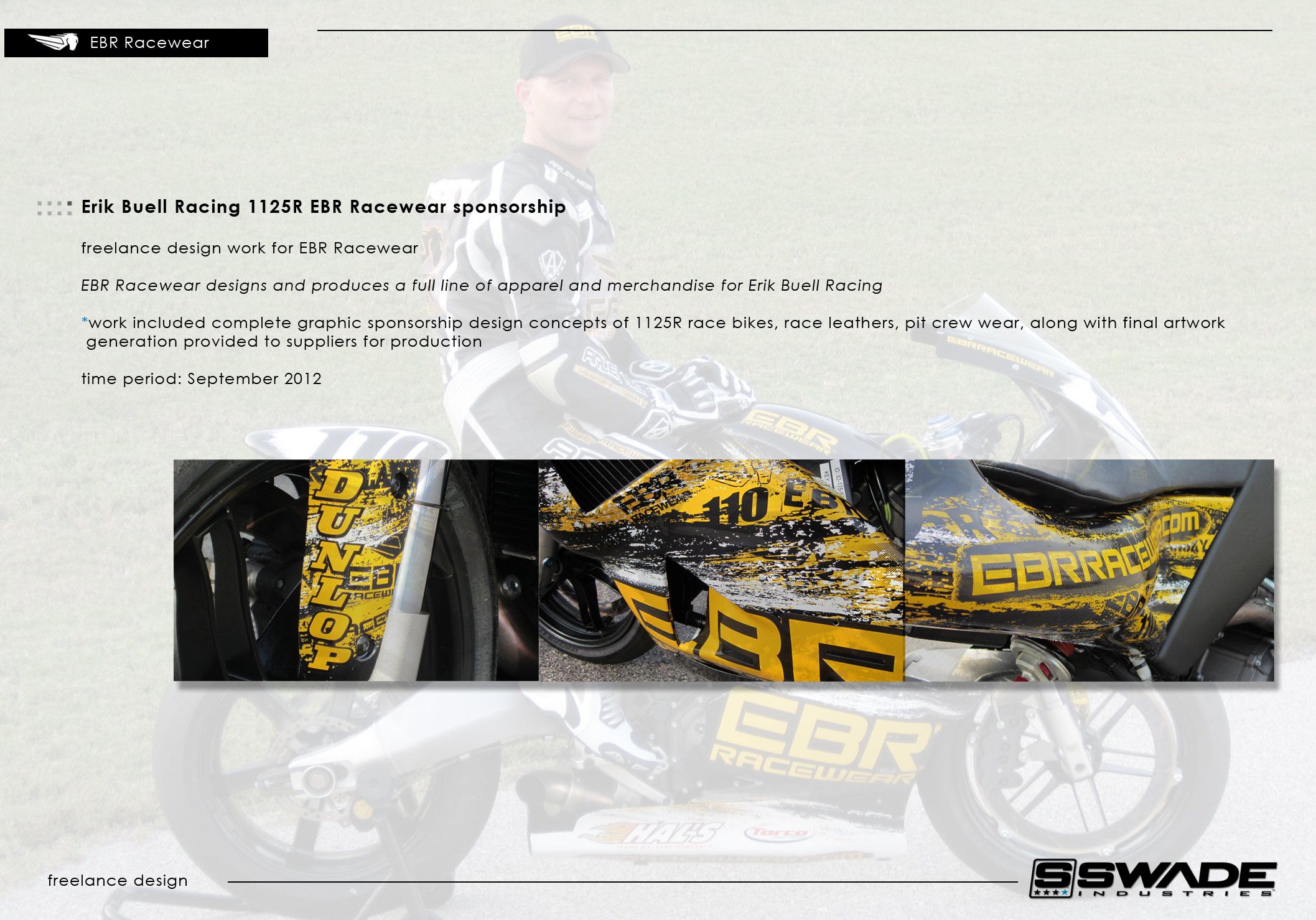 ebr racewear sponsorship by swade industries   todd