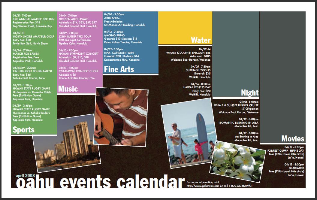 Calendar Of Events Design : Print by creative arrow at coroflot