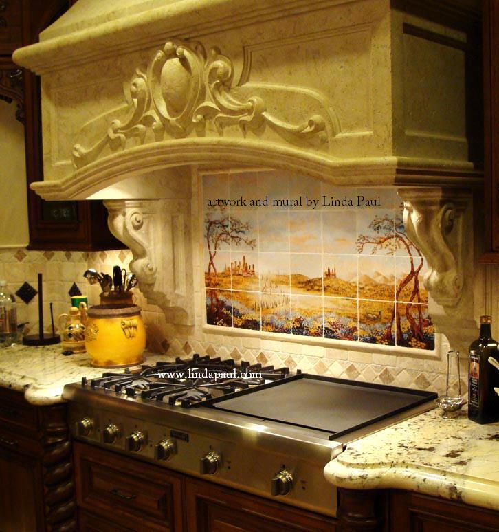 Mural Tiles For Kitchen Backsplash Kitchen