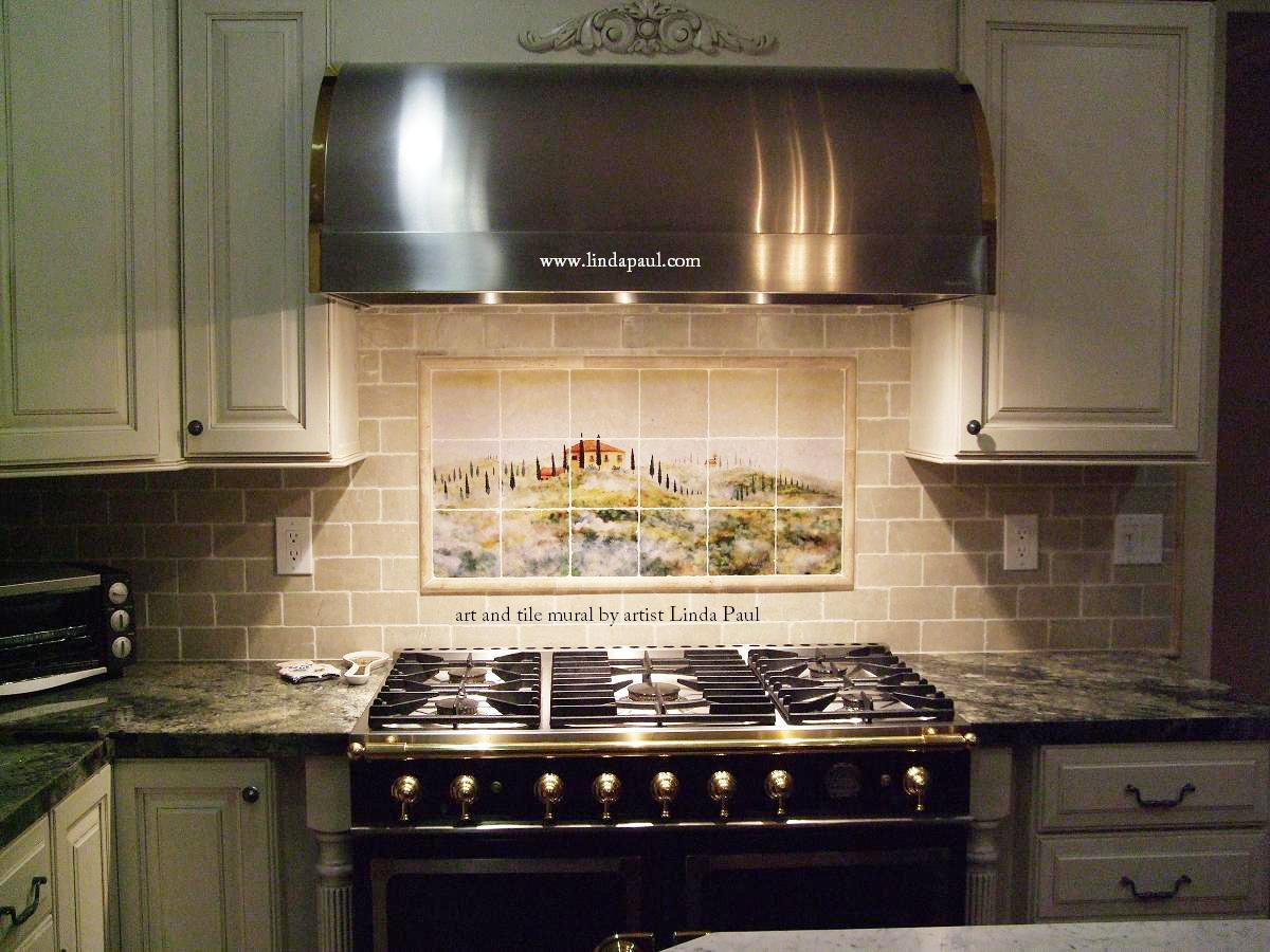 Kitchen backsplash tile murals by linda paul studio by Italian marble backsplash