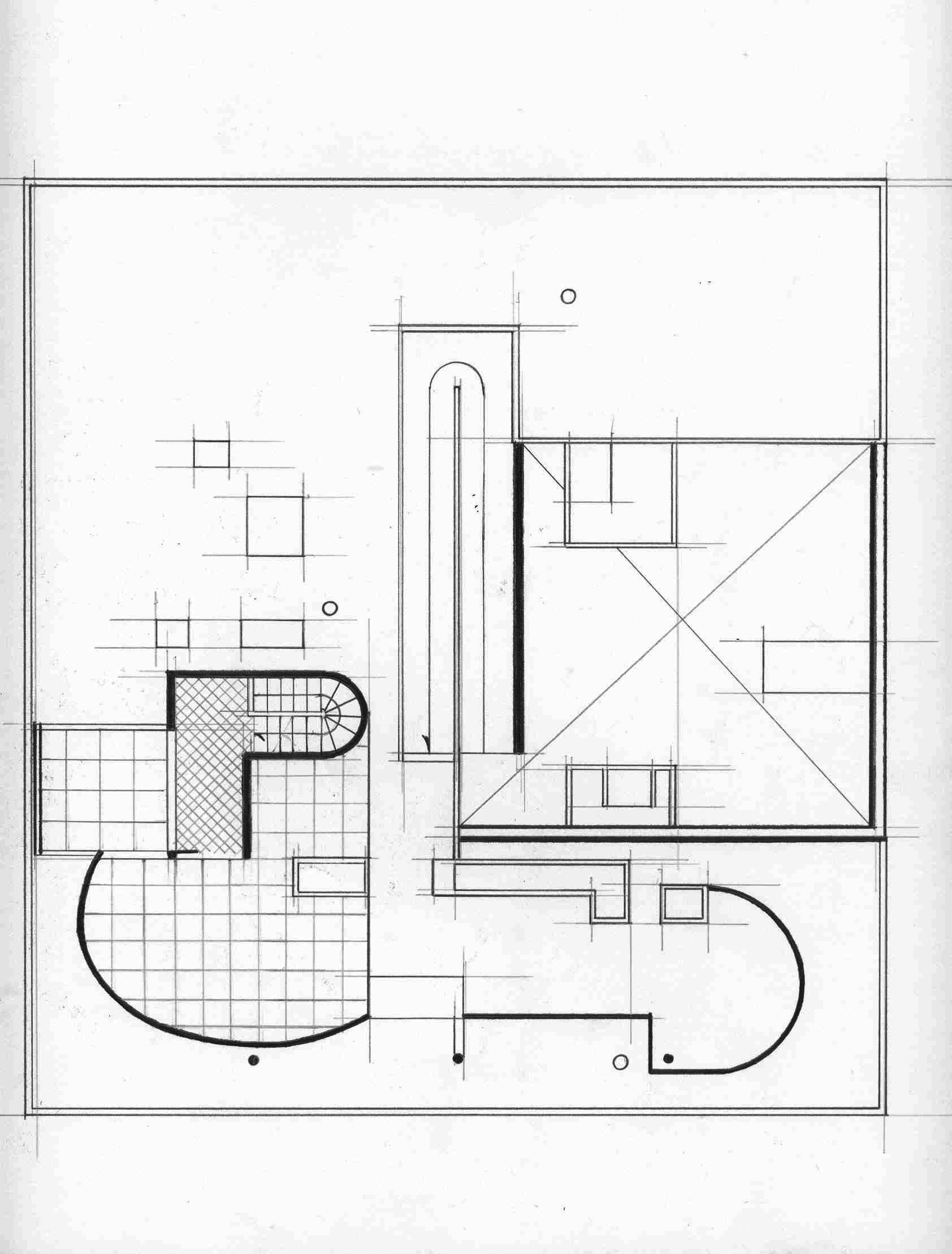 Villa Savoye Dimensions Villa savoye  amp  small houseVilla Savoye 2nd Floor Plan