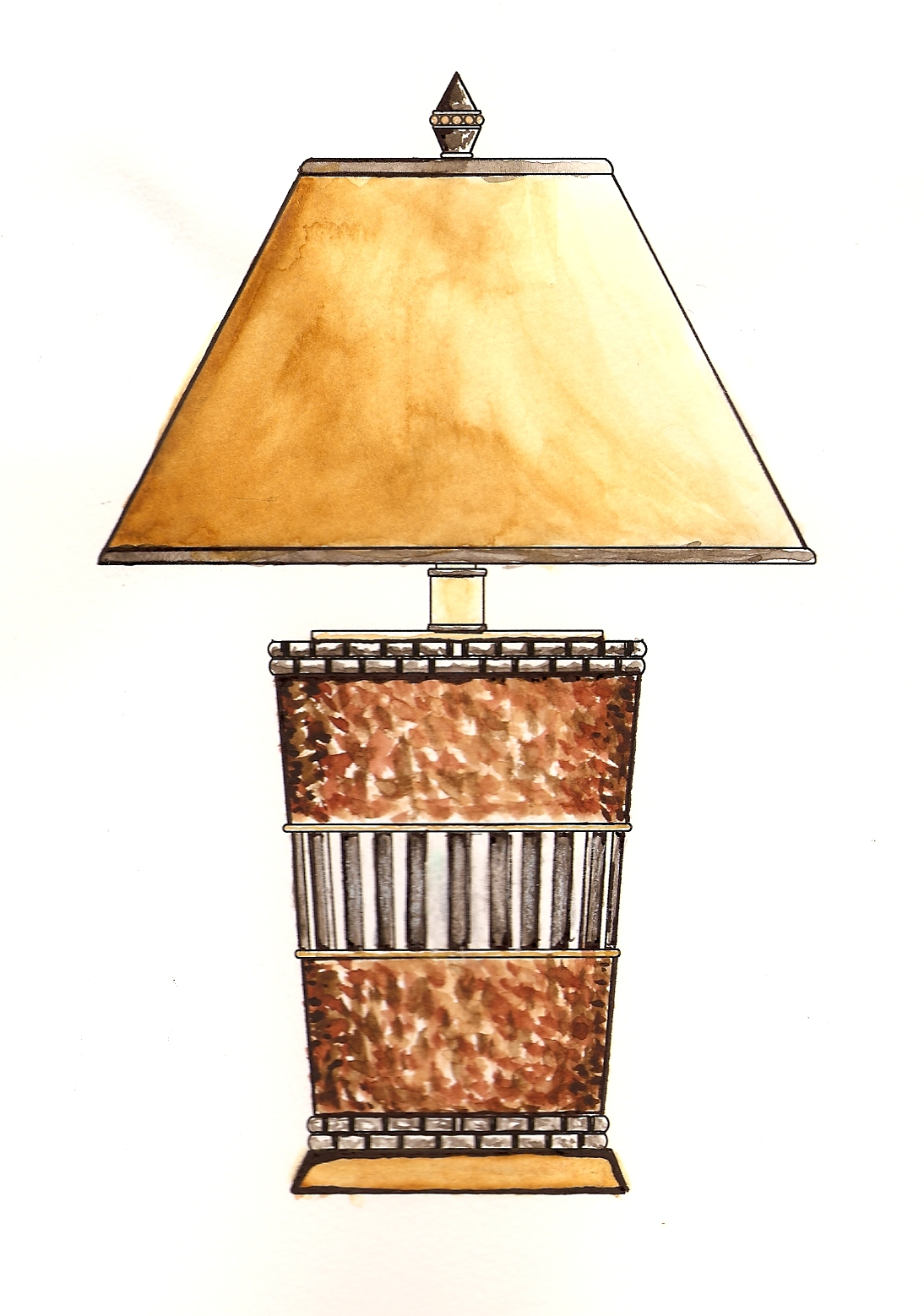 Table lamp for drawing - Table Lamp Water Color Concept Drawing