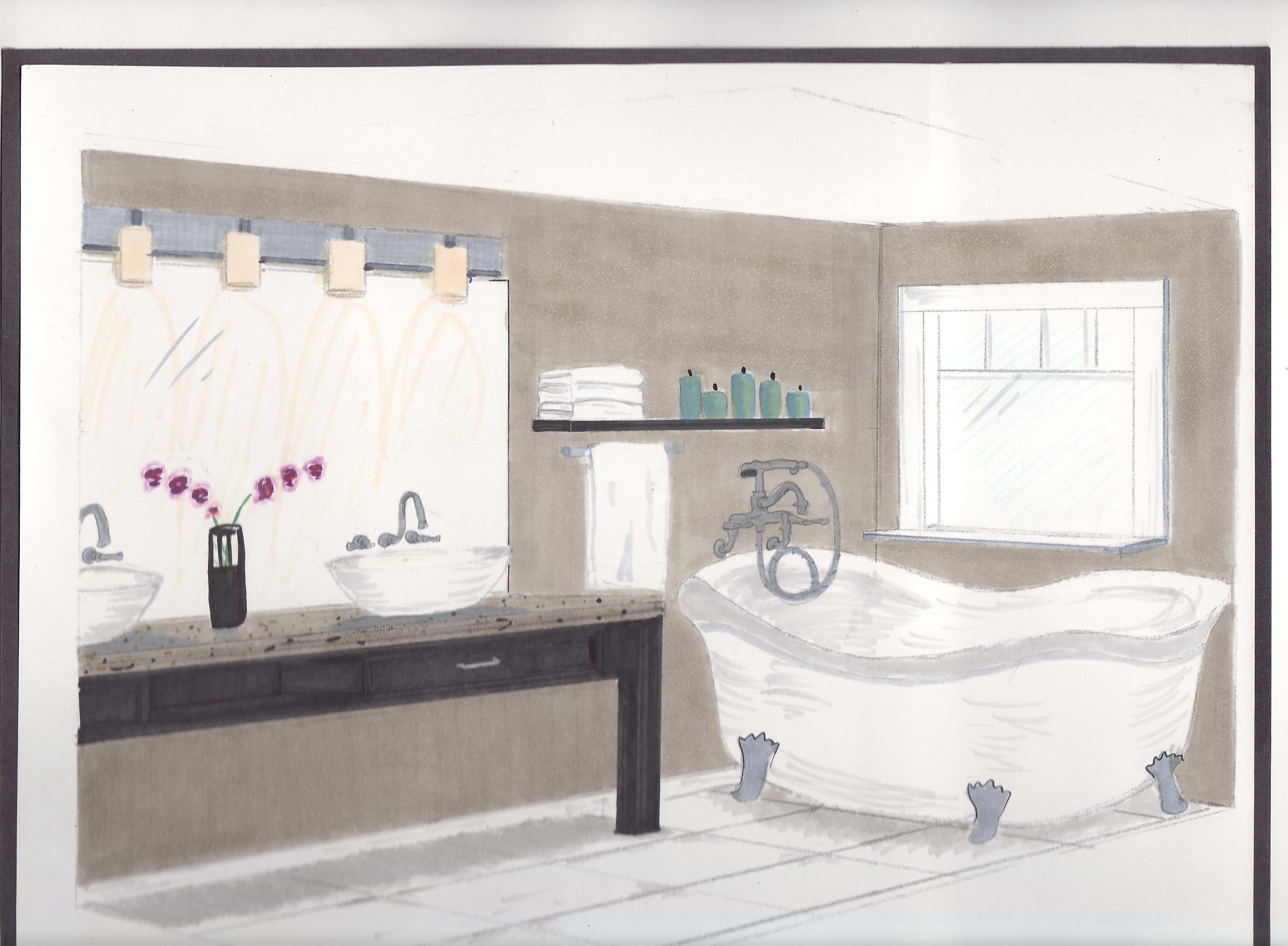 A keletnemet lanyok eneke   made in hungaria 457 - Bathroom Perspective Drawing Master Bathroom Perspective I Produced This In A Drawing Class Materials Fixtures
