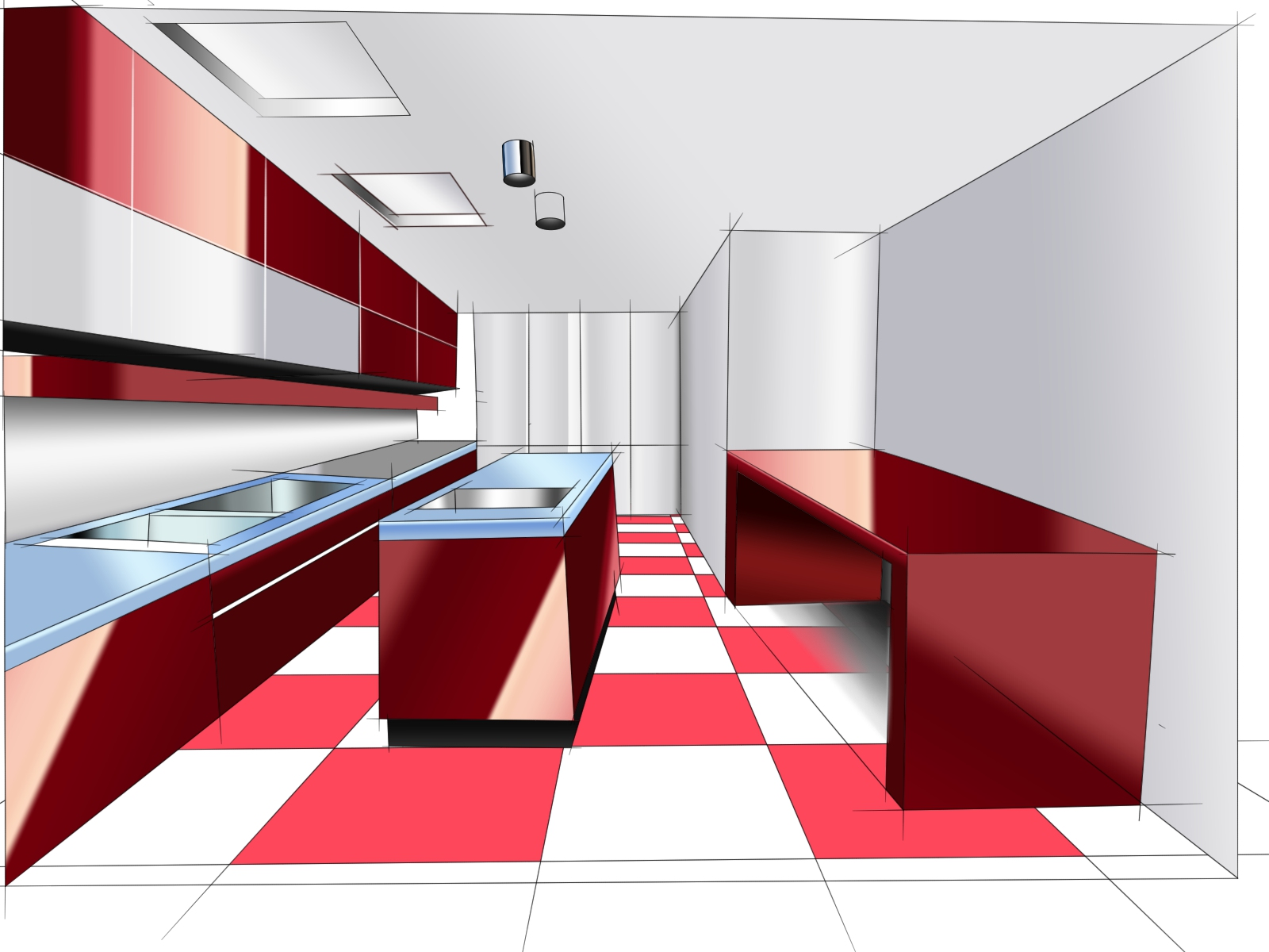 Kitchen Rendering Rendering Of The Sketches With Wacom