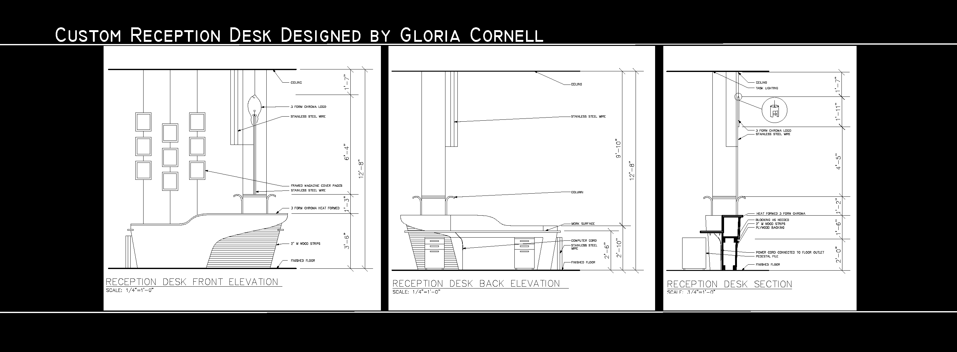 Reception Desk Designs Drawings Custom Reception Desk Detail