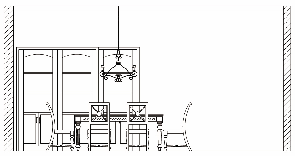 dining table plan cad block