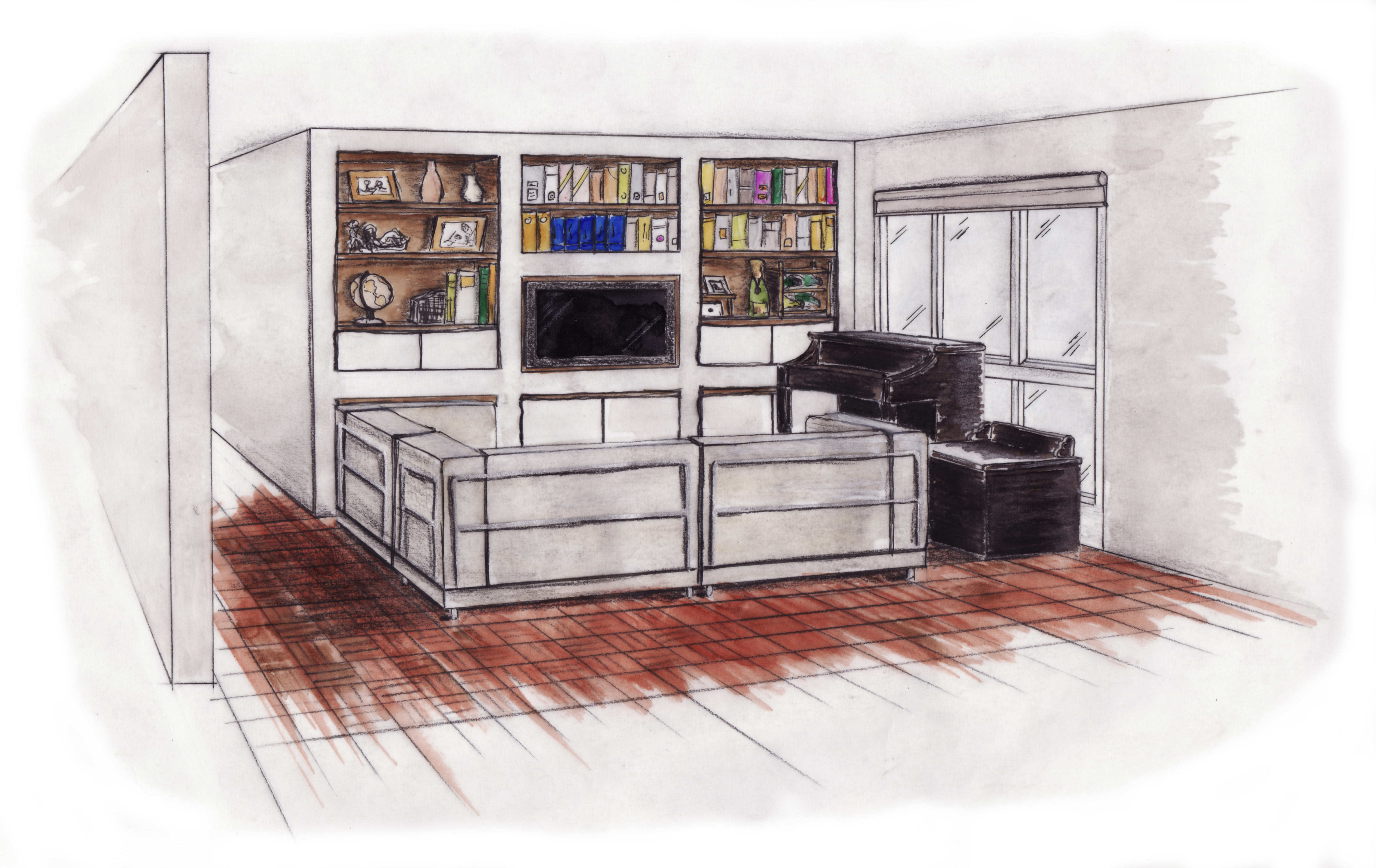 Living room perspective drawing - H Favorite Qview Full Size Living Room Perspective