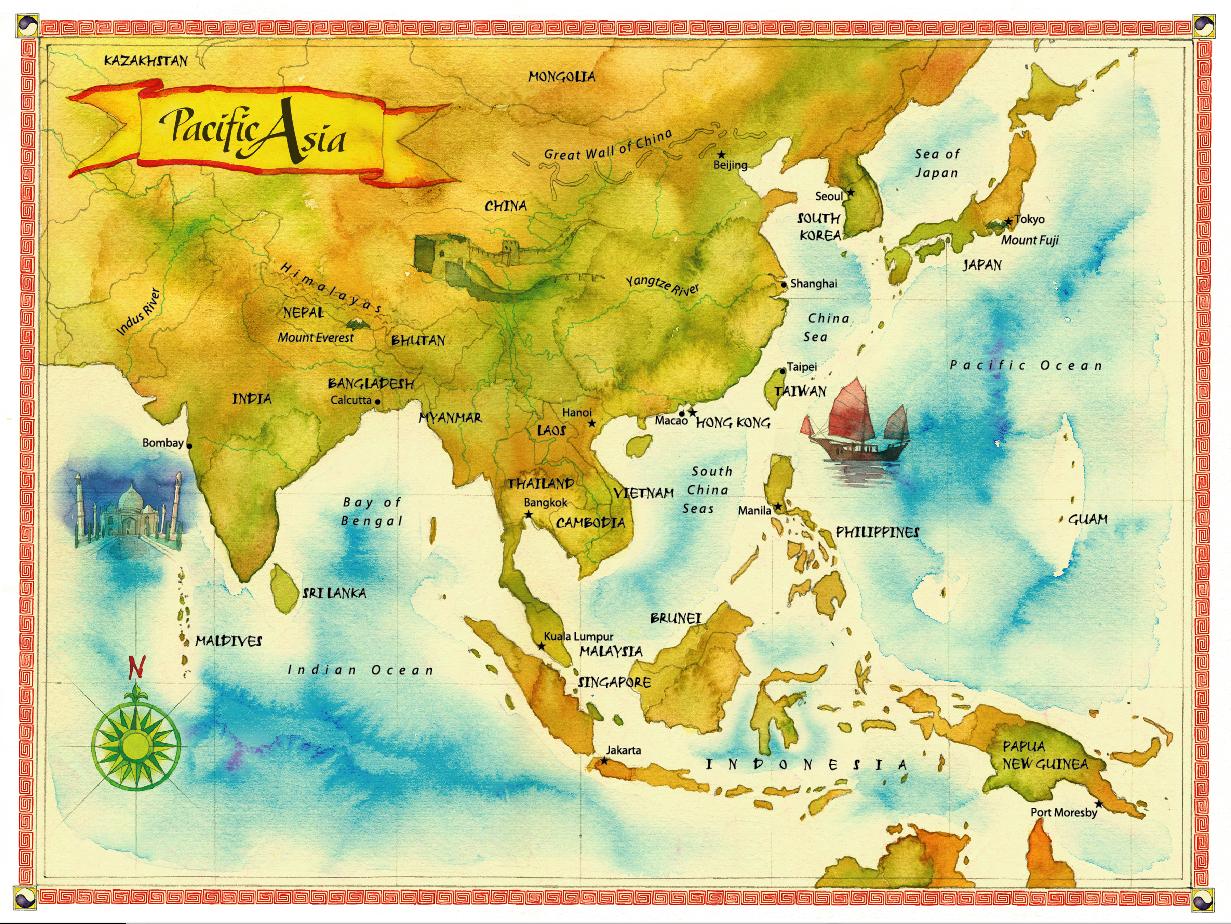 Watercolor maps by Steven Stankiewicz at Coroflot – Full Asia Map