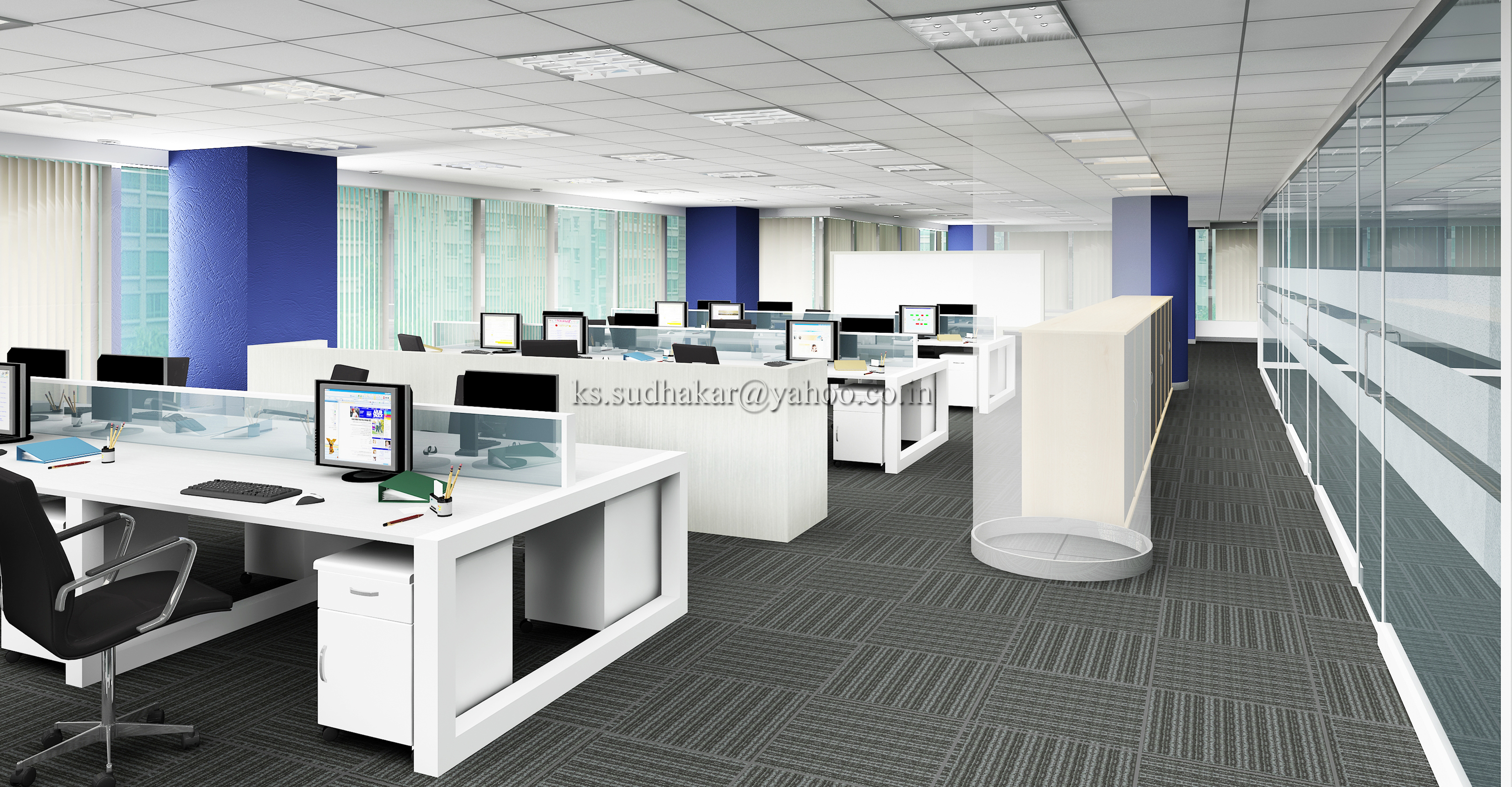 Interior renderings by sudhakar k s at for Office images