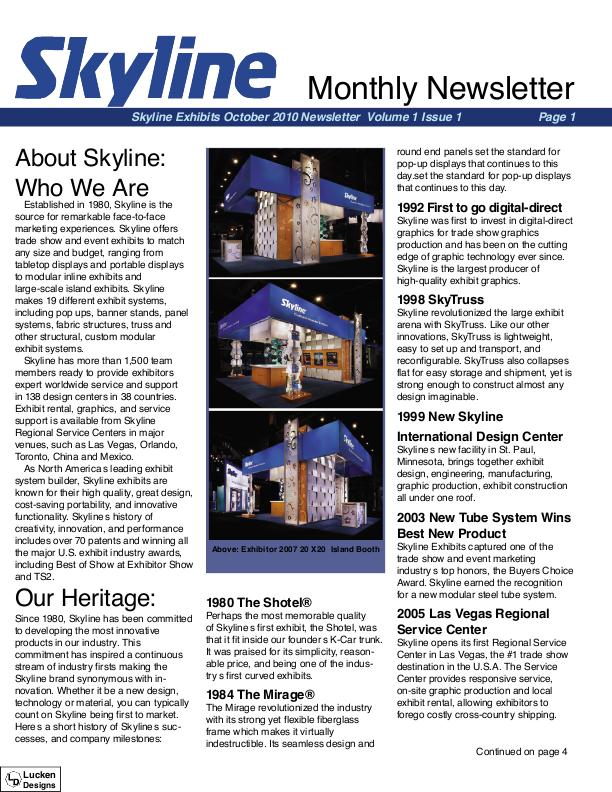 Skyline Exhibits Monthly Newsletter By Kyle Lucken At Coroflot.Com