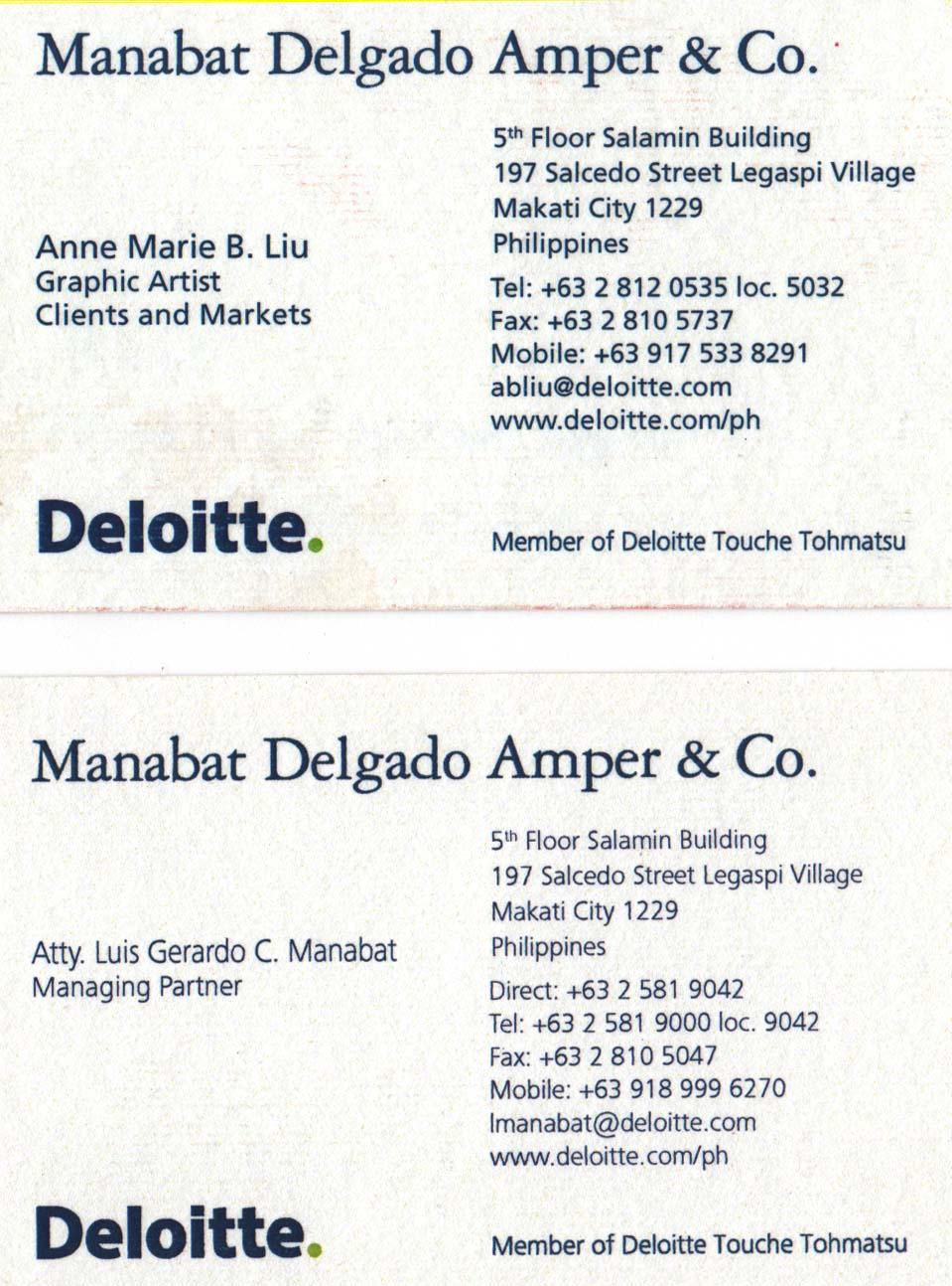 Deloitte Business Card Pictures To Pin On Pinterest