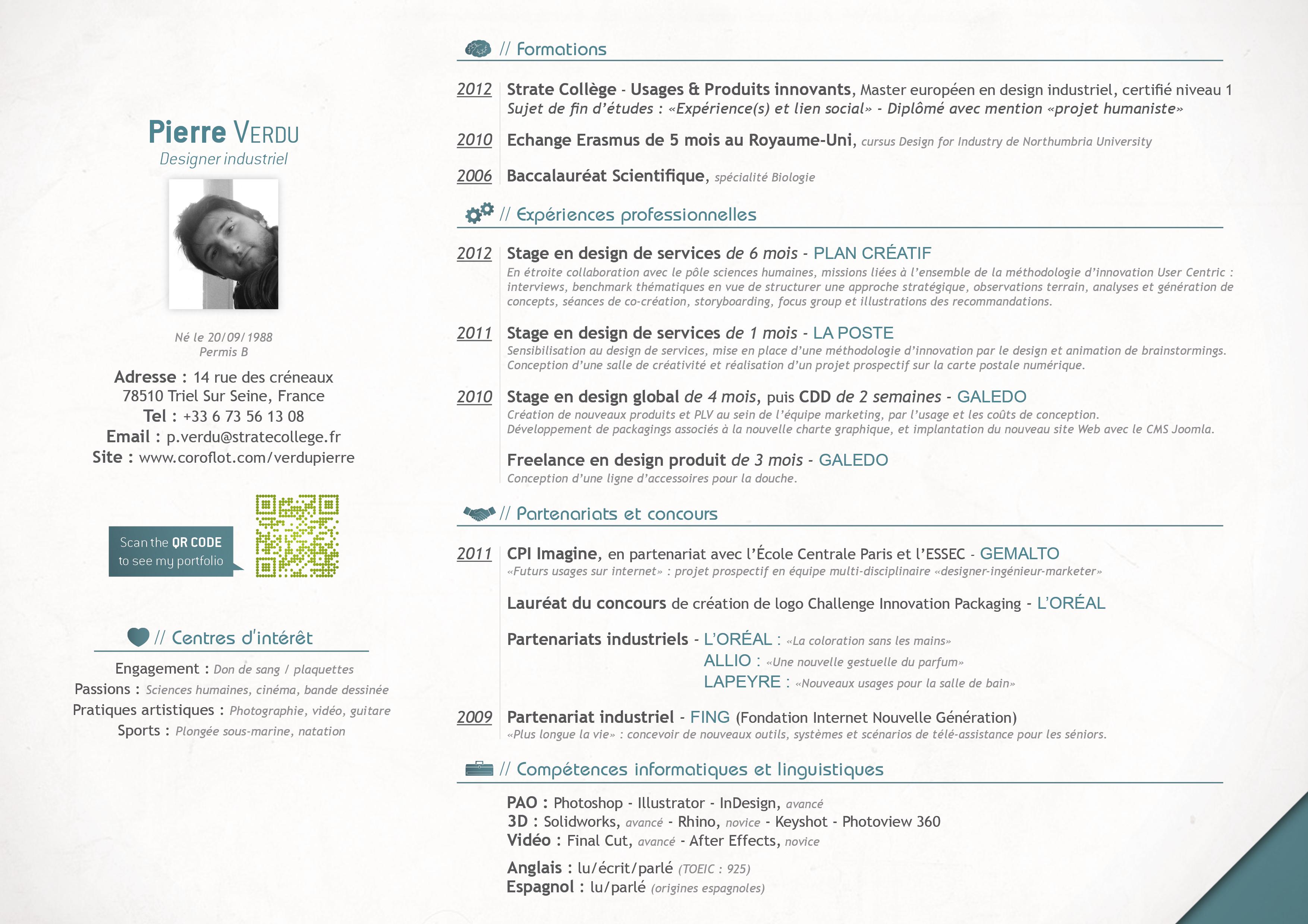 cv francais - Resume Francais Bac Science