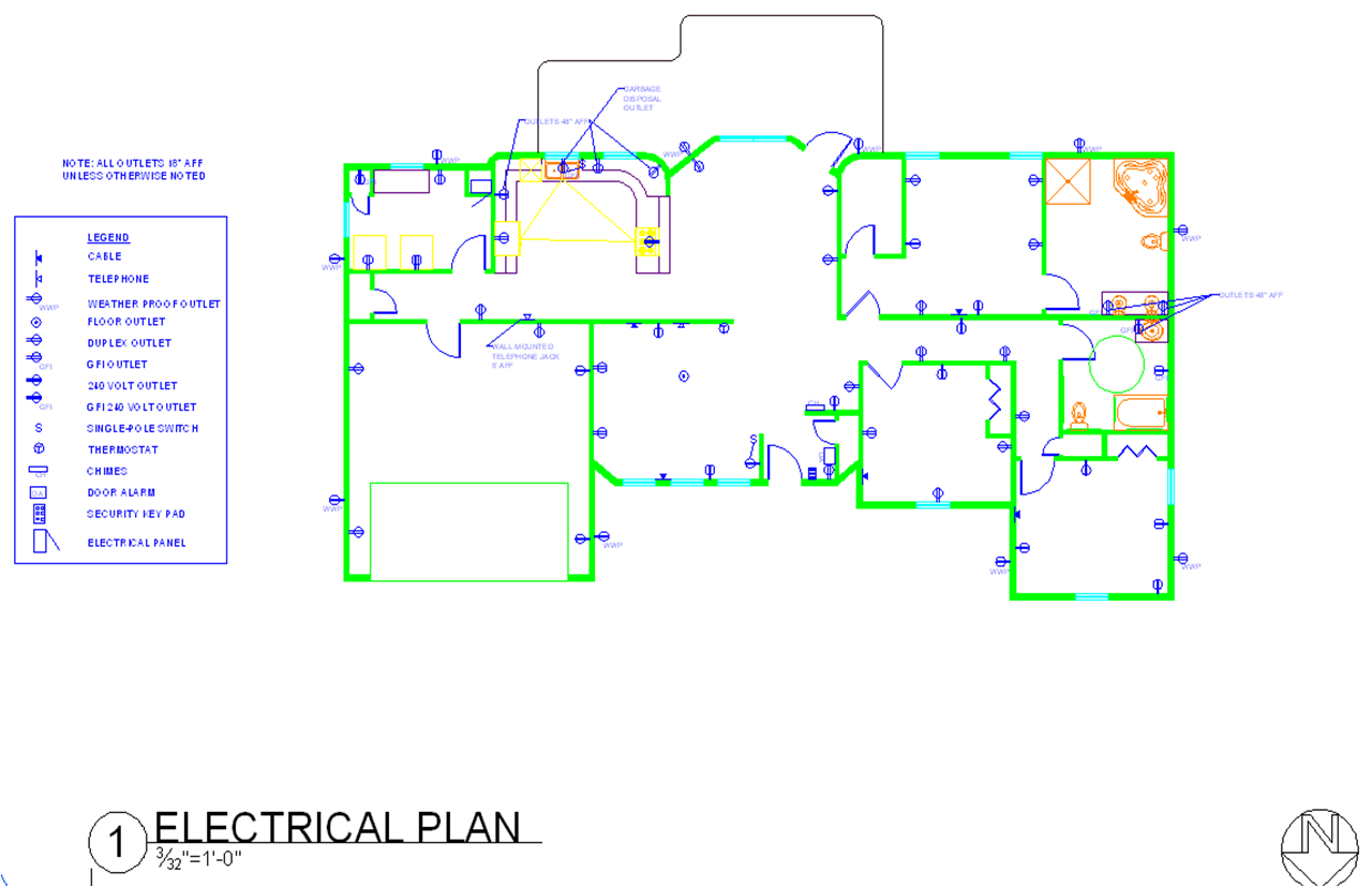 House floor plan with electrical layout home mansion for House design program