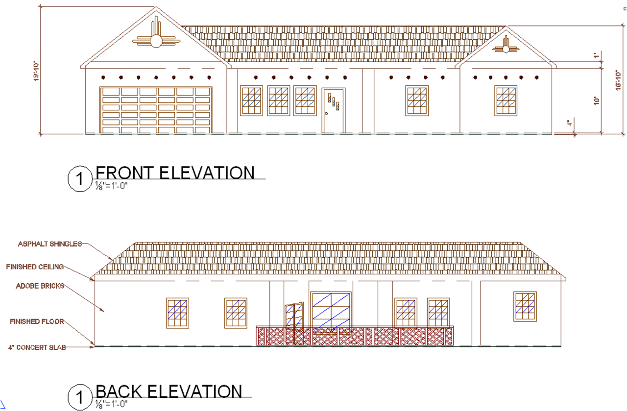 Front Elevation Residential Building Autocad : Front view of drawing plan