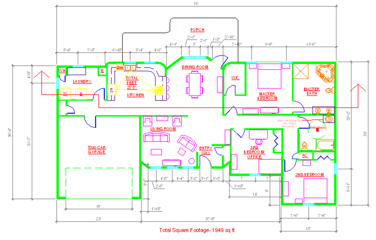 House Plan Cad File Numberedtype