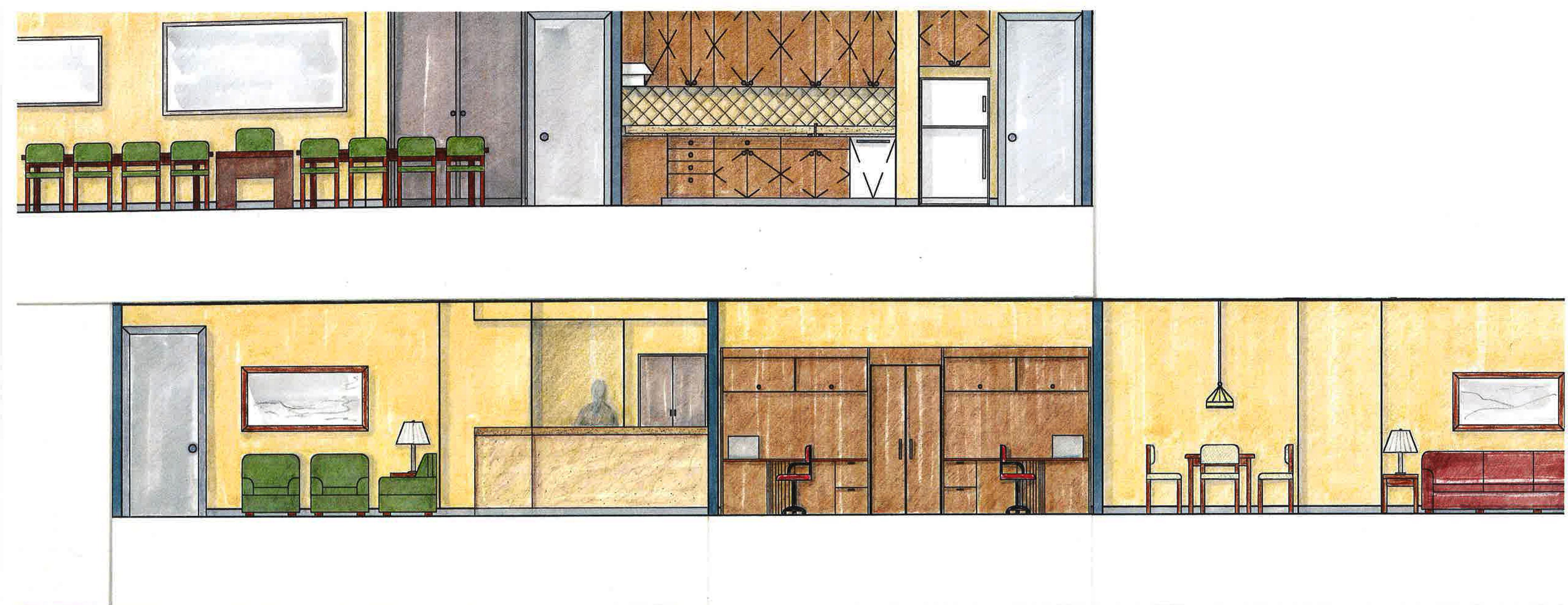 Hand Rendered Floor Plan By And Elevation Renderings Laurie Davis At Coroflot Com