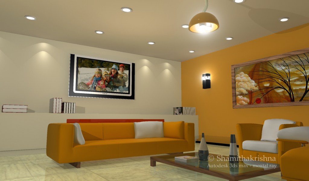 3d by shamitha krishnadas at for Living room 3d view